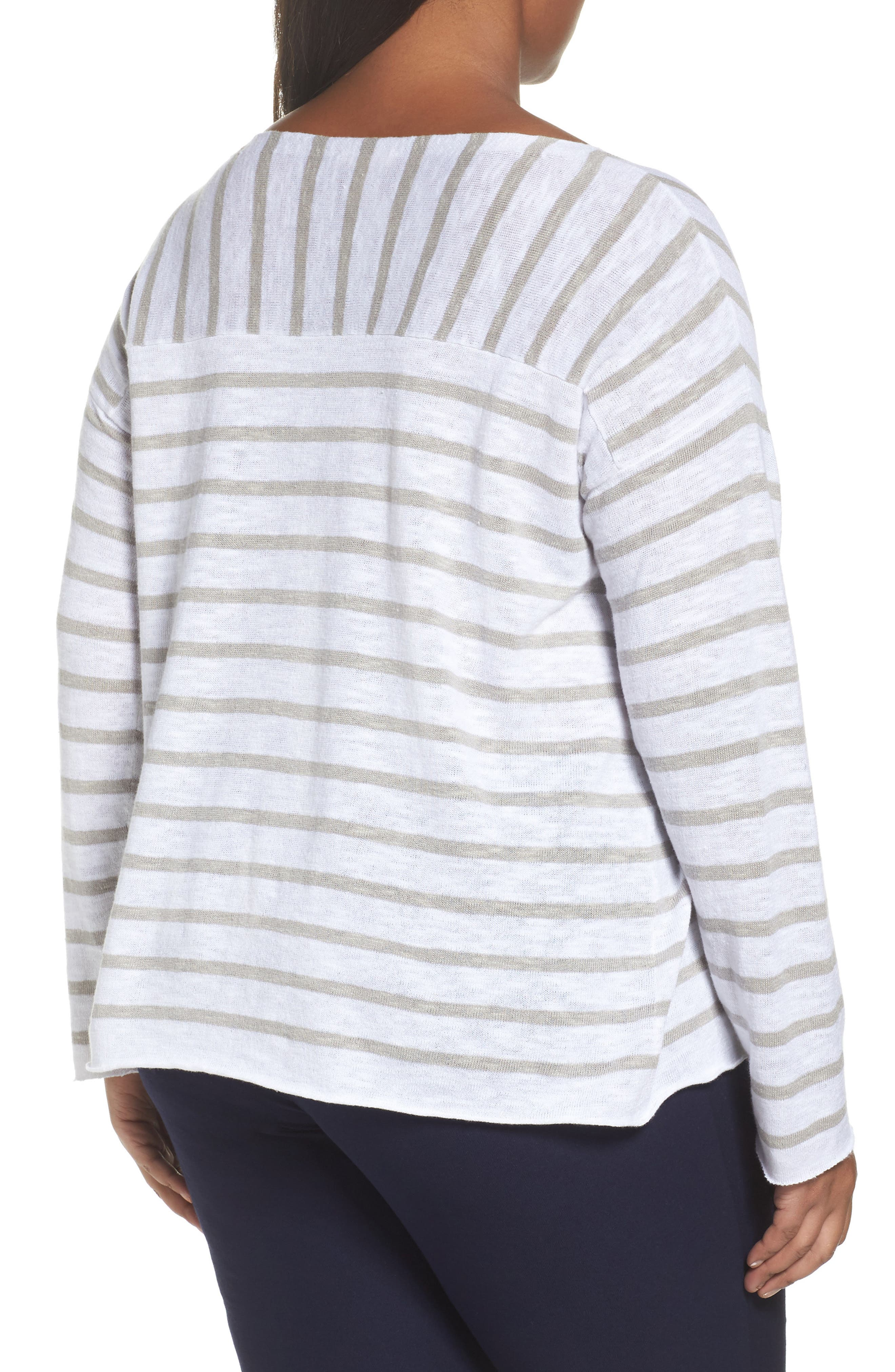 Stripe Organic Linen & Cotton Top,                             Alternate thumbnail 2, color,                             092