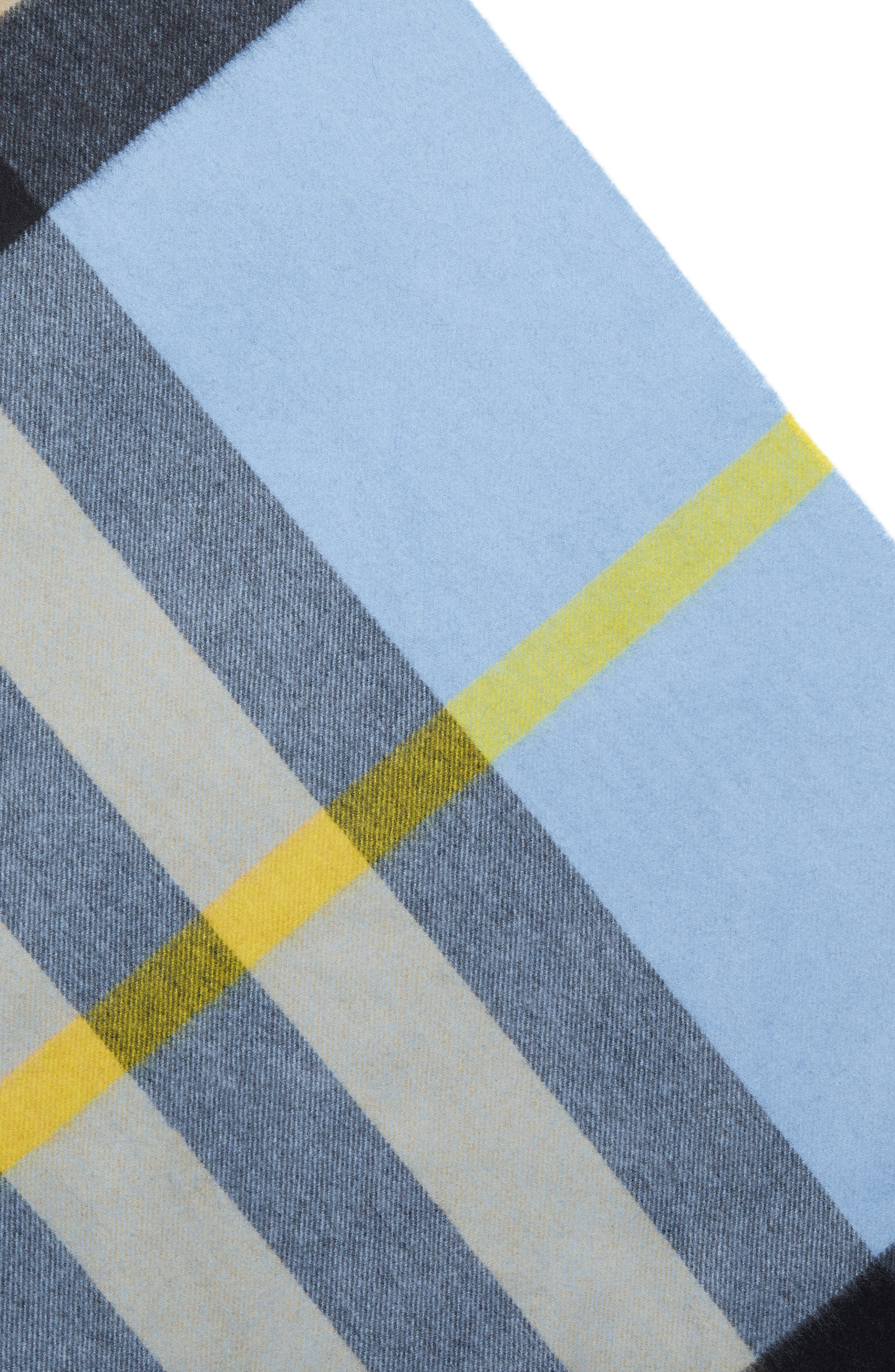 BURBERRY,                             Mega Check Cashmere Scarf,                             Alternate thumbnail 4, color,                             PALE CARBON BLUE