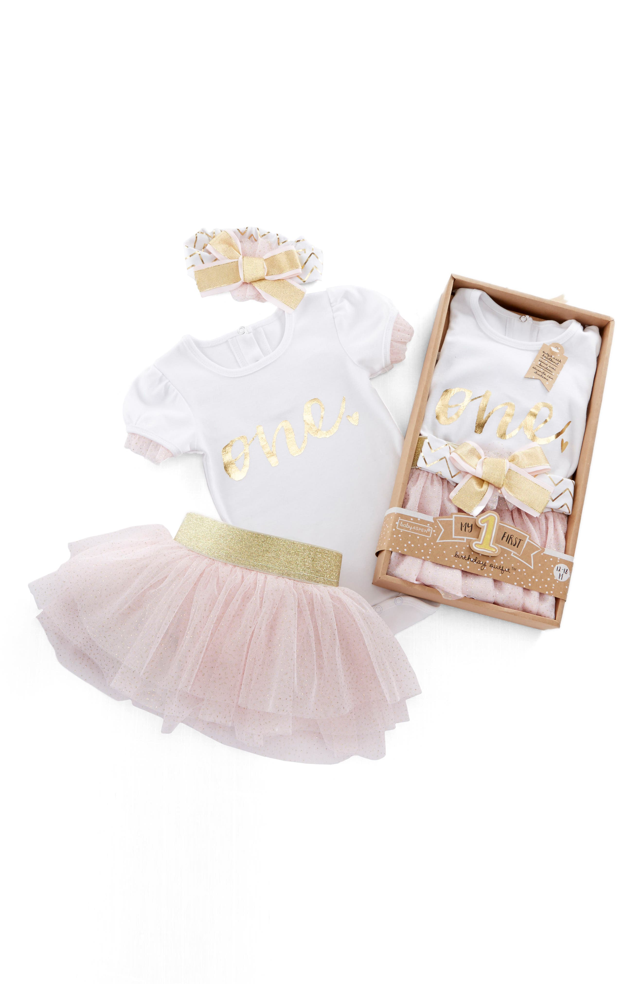 My First Birthday Bodysuit, Tutu and Head Wrap Set,                         Main,                         color, PINK