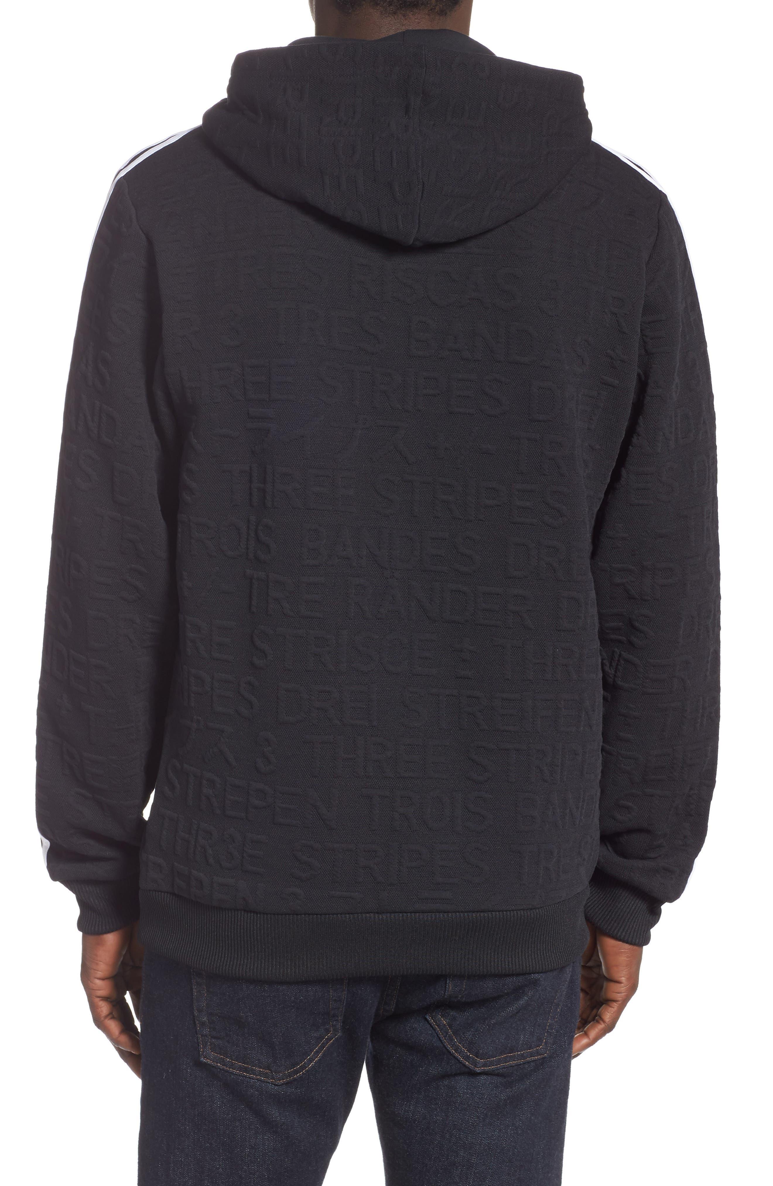 ADIDAS,                             3-Stripes Hoodie Sweatshirt,                             Alternate thumbnail 2, color,                             BLACK