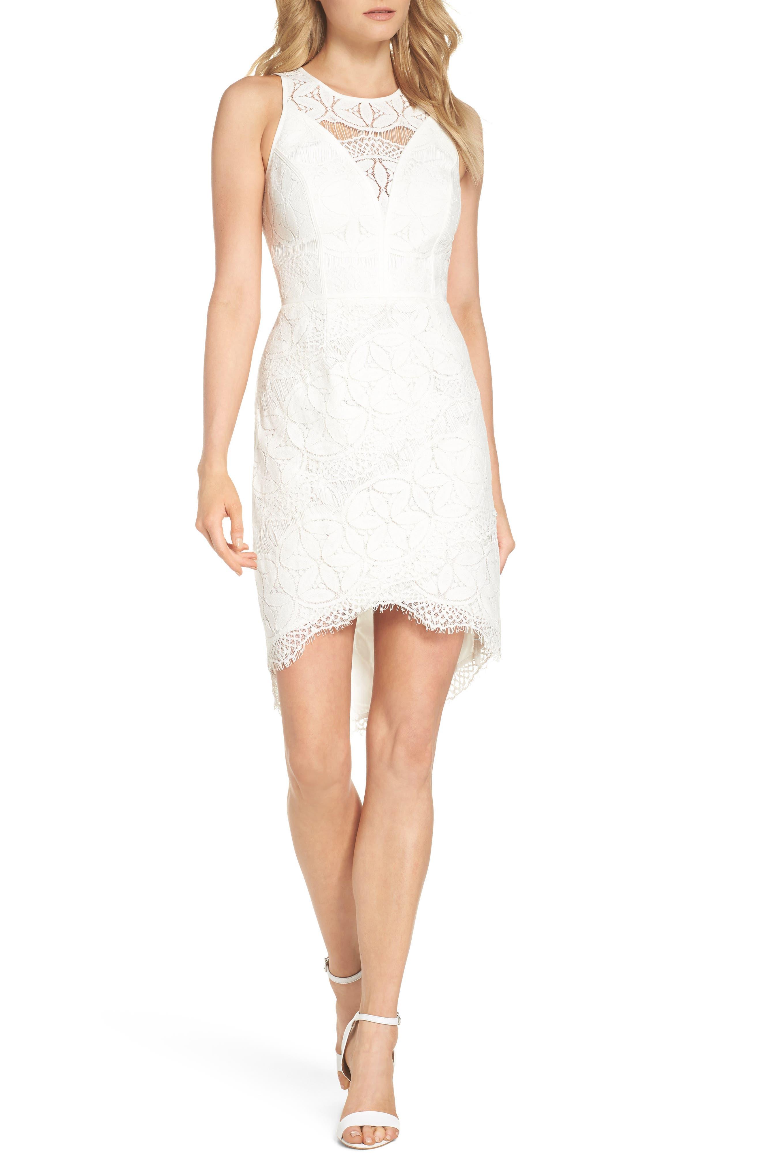 Lace High/Low Sheath Dress,                             Main thumbnail 1, color,                             100