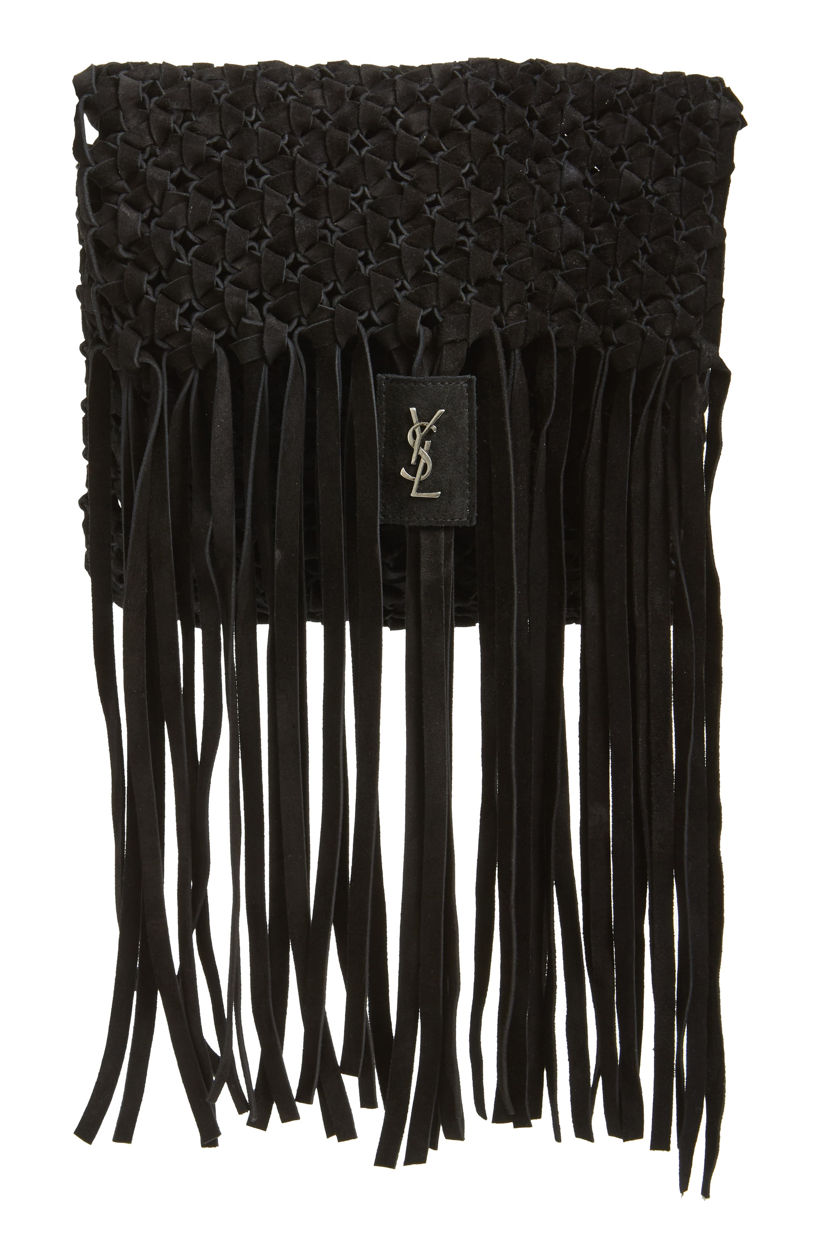 Fringed Leather Clutch,                             Alternate thumbnail 2, color,                             NERO