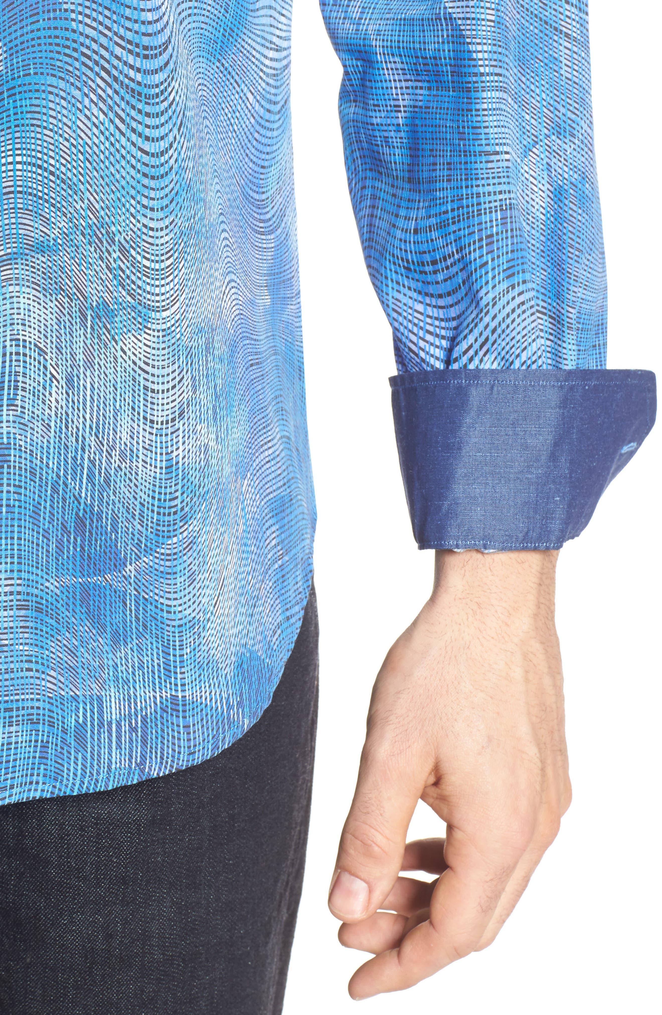 Shaped Fit Print Sport Shirt,                             Alternate thumbnail 4, color,                             424