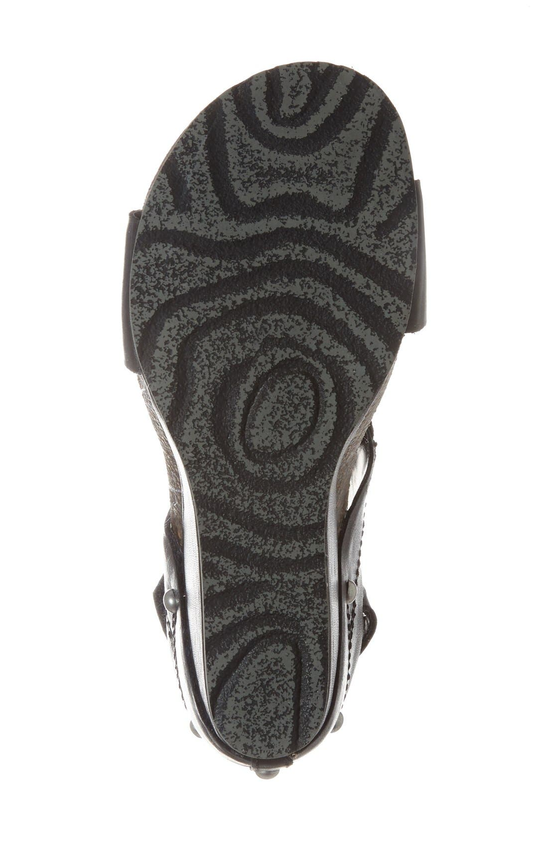 'Trailblazer' Wedge Sandal,                             Alternate thumbnail 4, color,                             BLACK LEATHER
