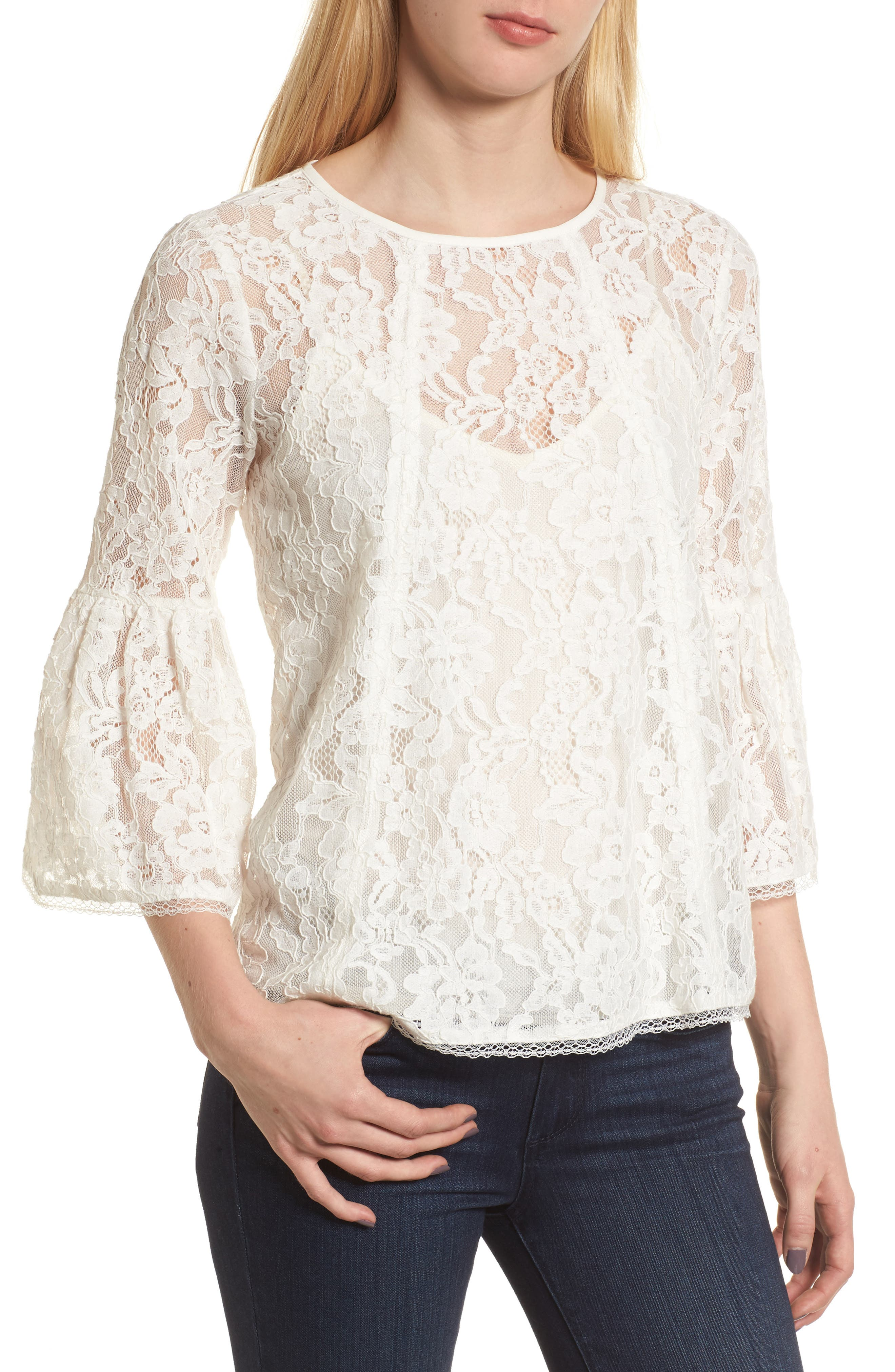 Bell Sleeve Lace Top,                             Main thumbnail 3, color,