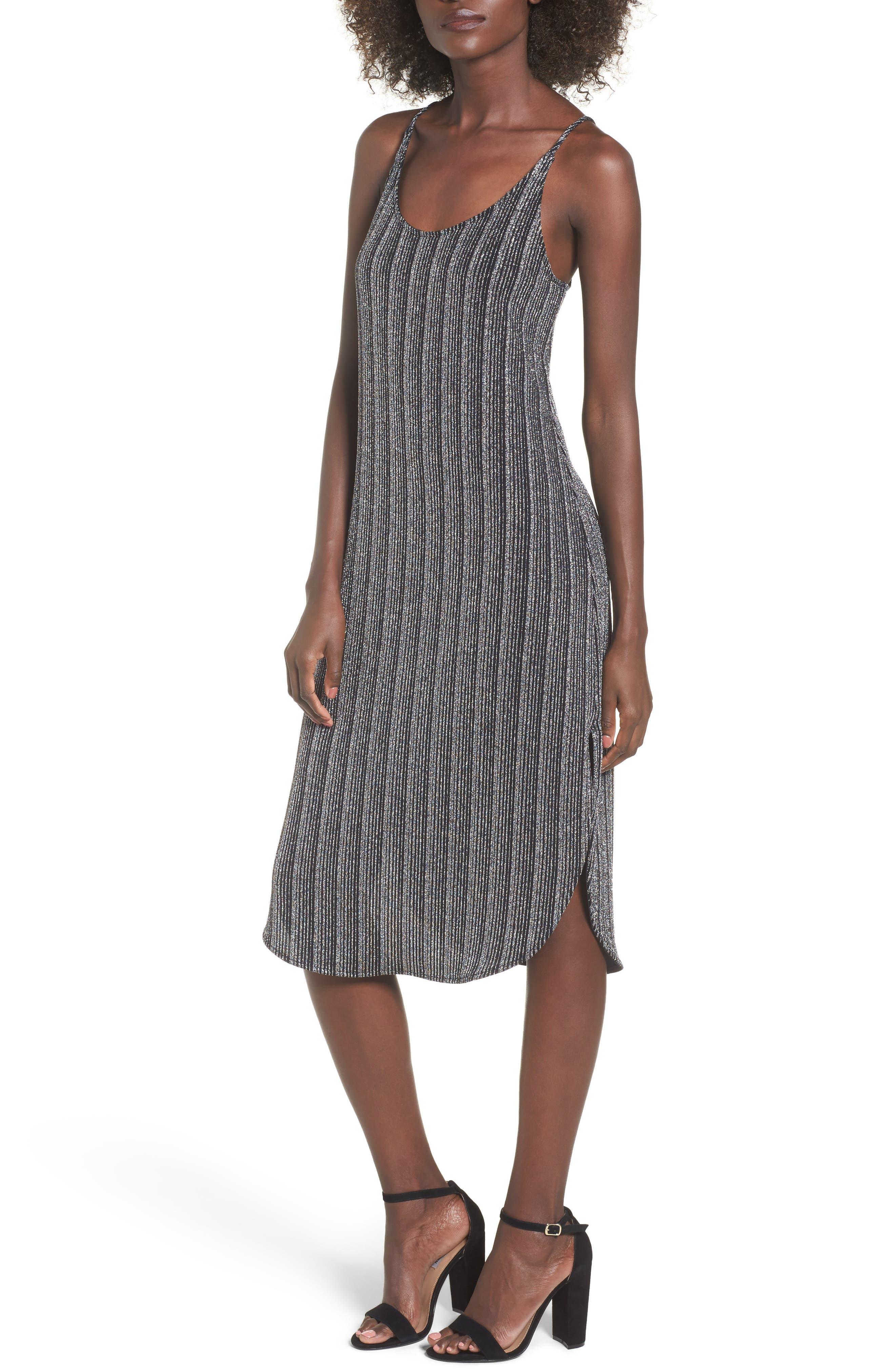 Metallic Ribbed Midi Dress,                             Main thumbnail 1, color,