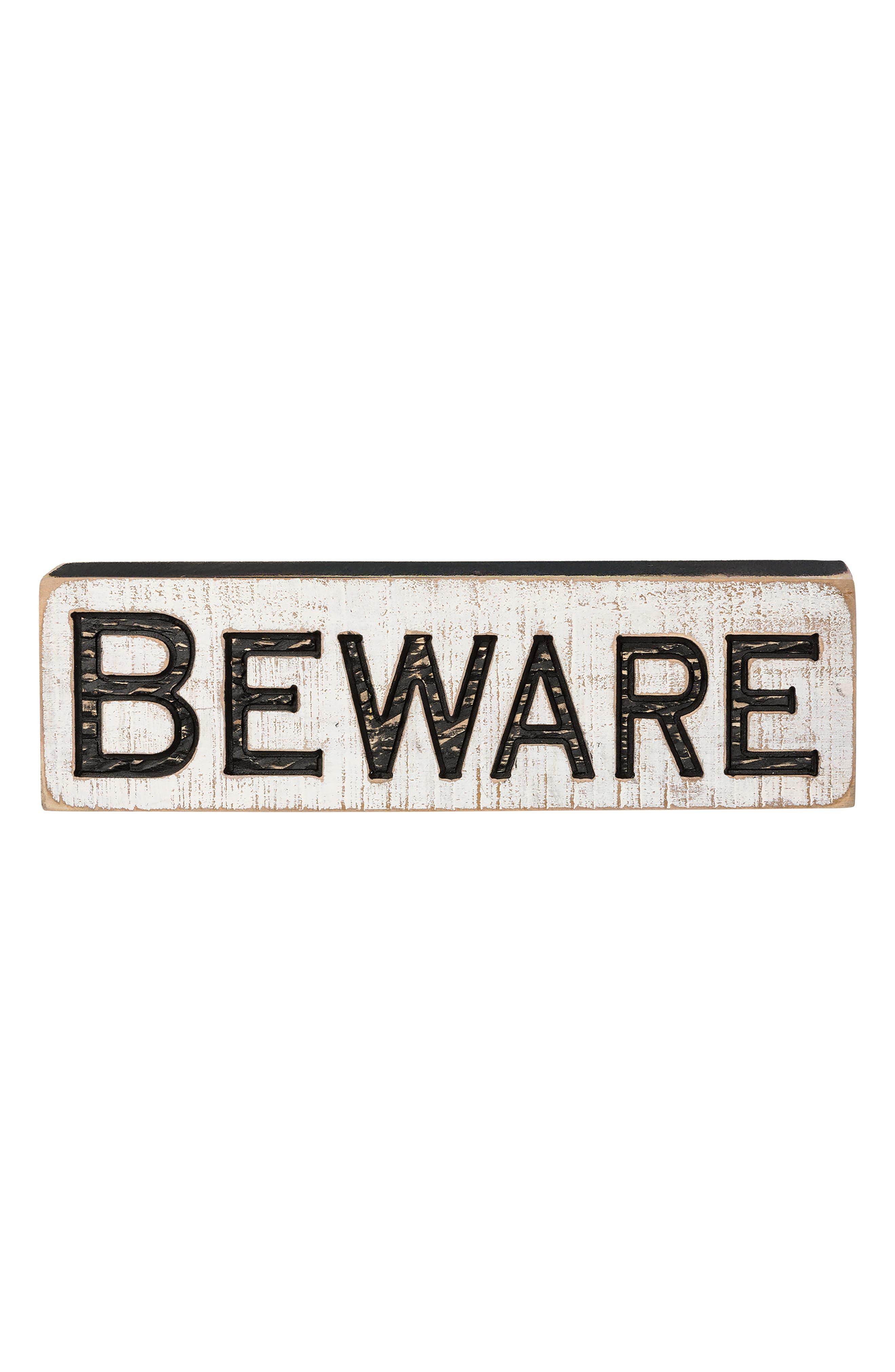 Beware Carved Wood Sign,                             Main thumbnail 1, color,                             001