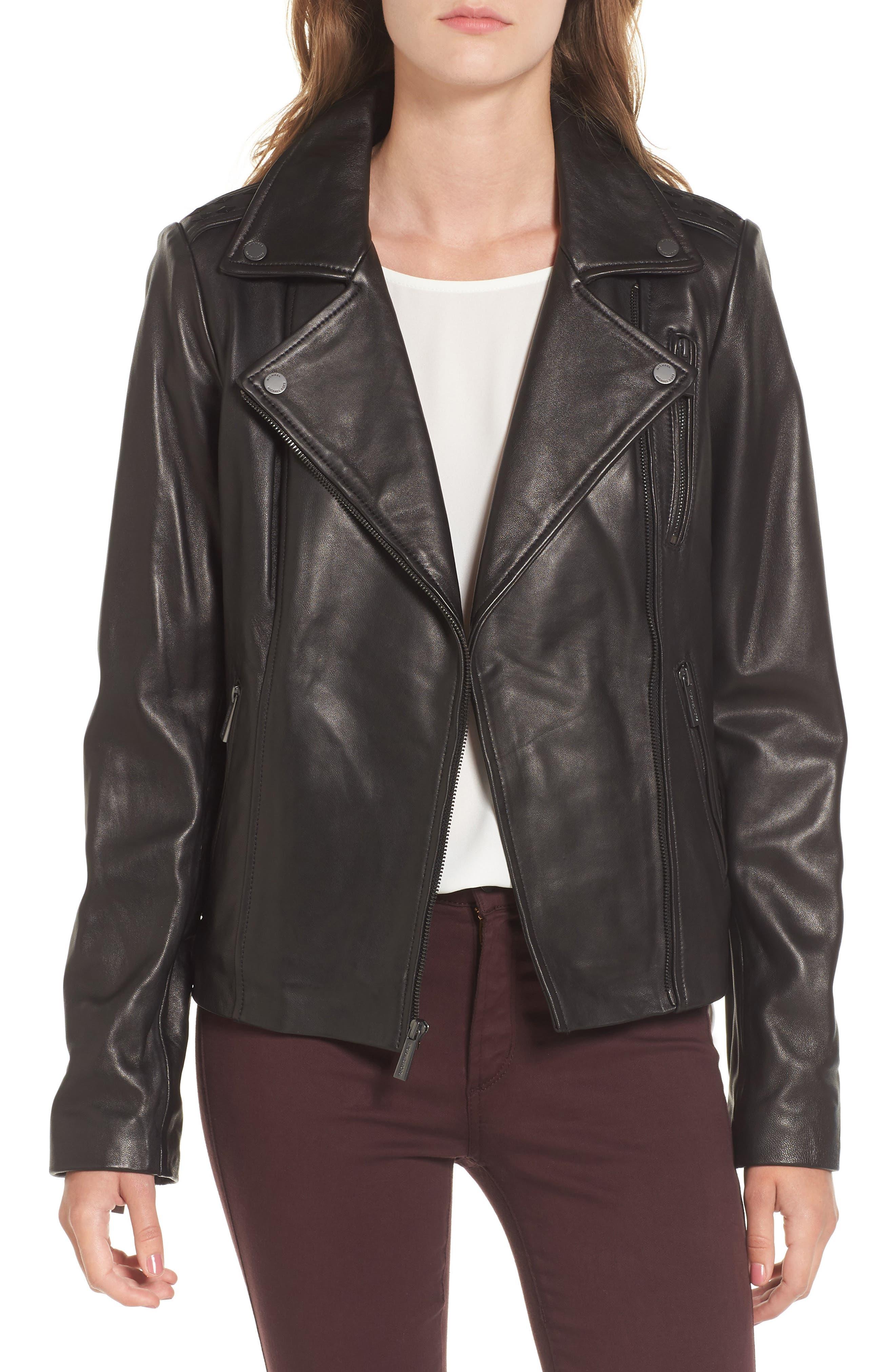 Leather Moto Jacket,                             Main thumbnail 1, color,                             001