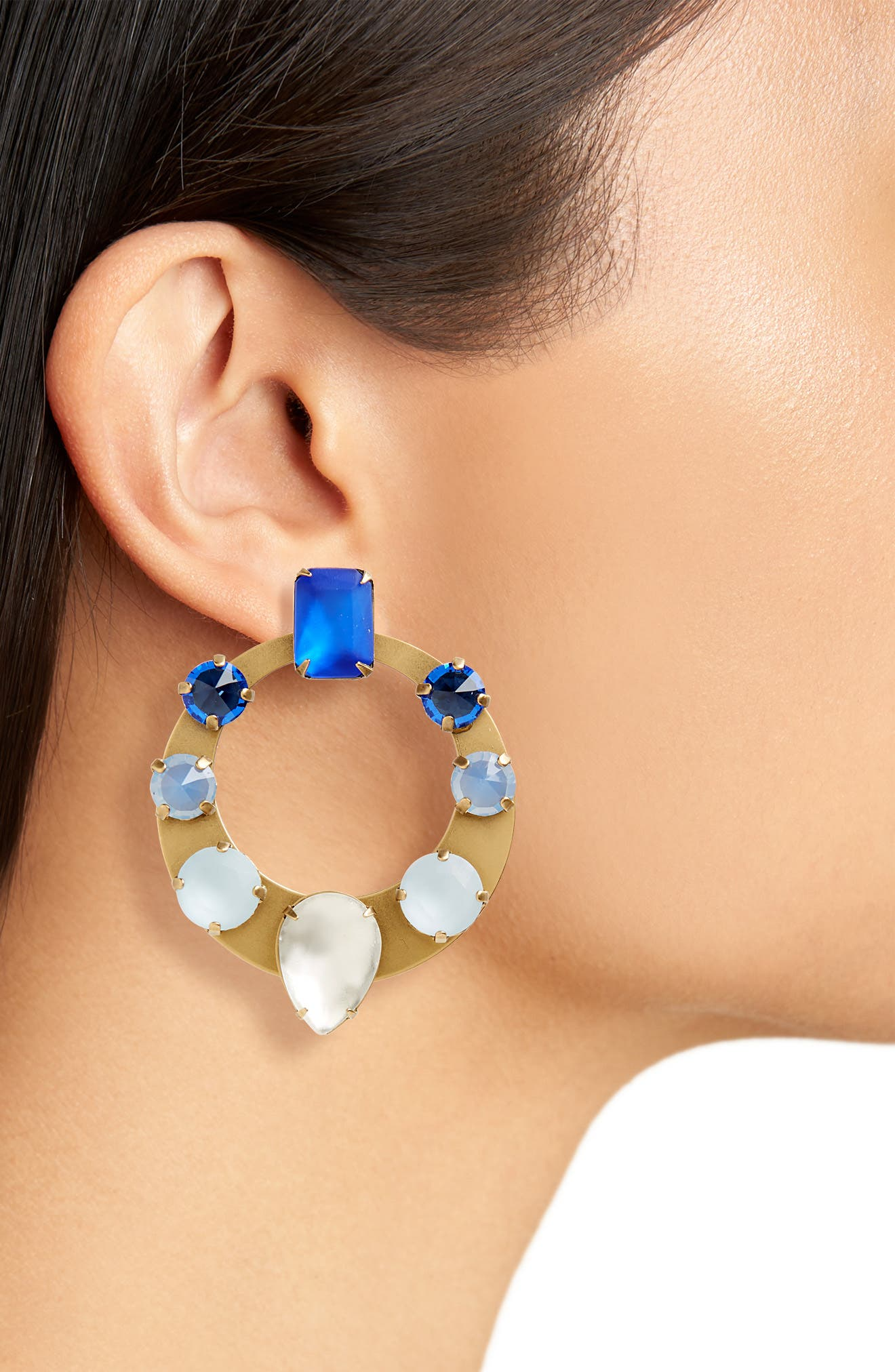 Frontal Hoop Earrings,                             Alternate thumbnail 2, color,                             BLUE MULTI