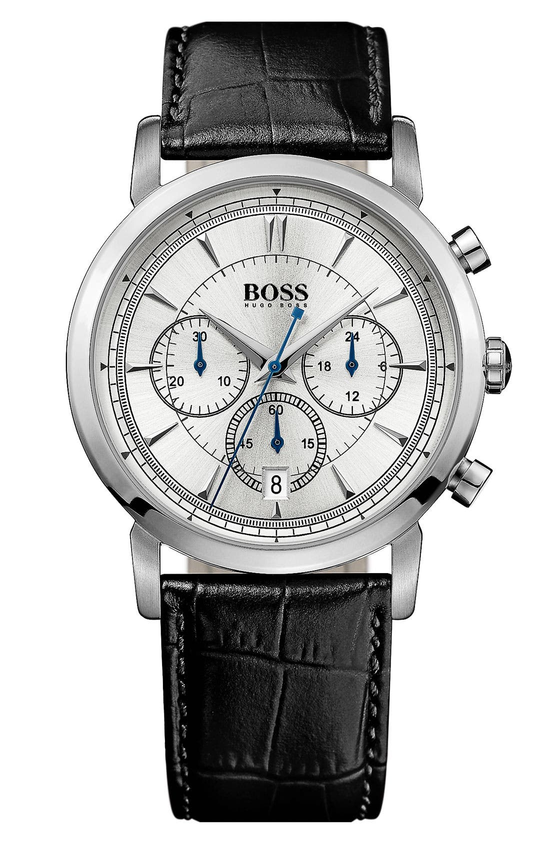 HUGO BOSS 'Classic' Round Chronograph Watch, 40mm,                             Main thumbnail 1, color,                             001