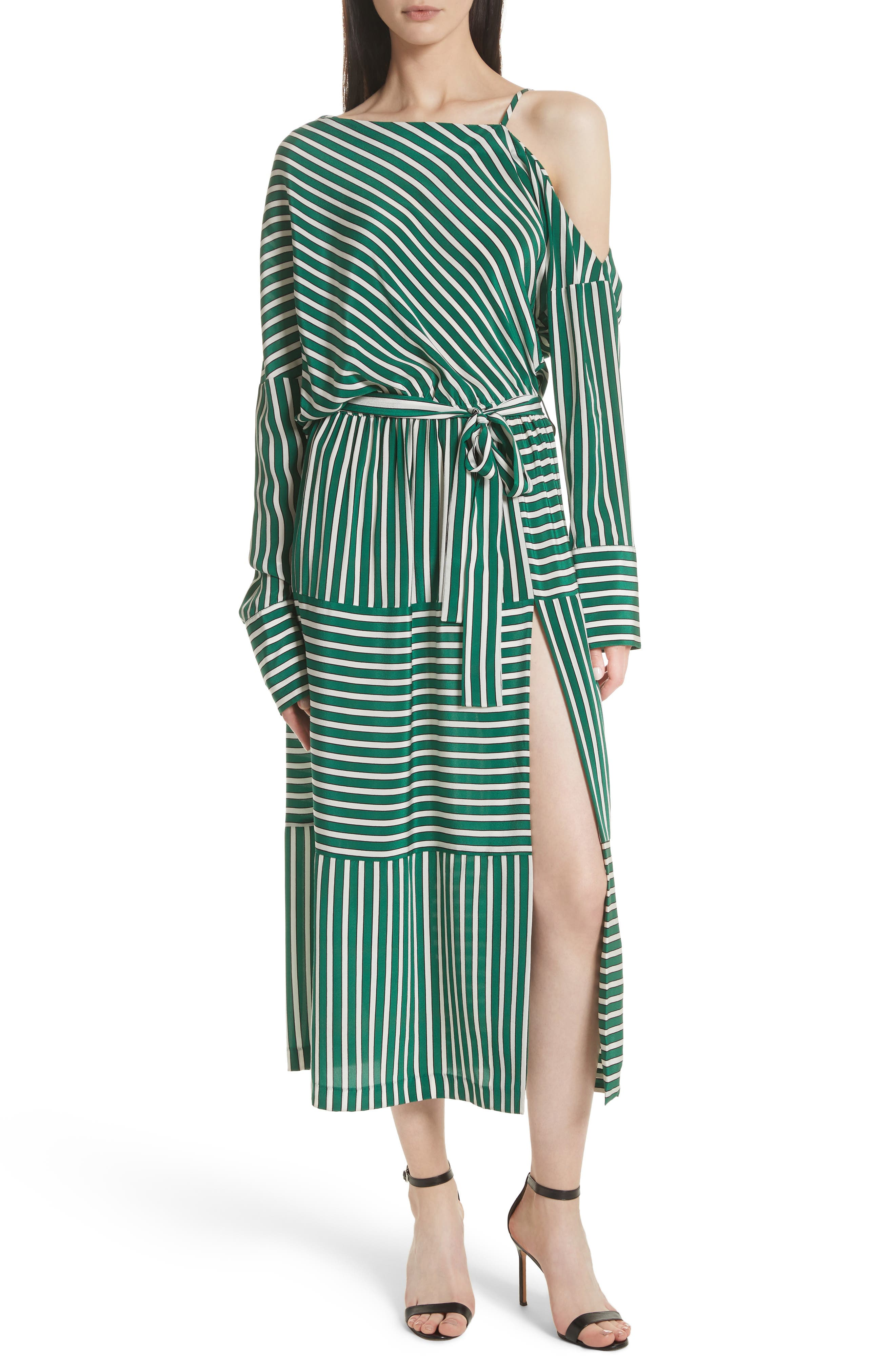 Stripe Silk Cold Shoulder Dress,                         Main,                         color, 300