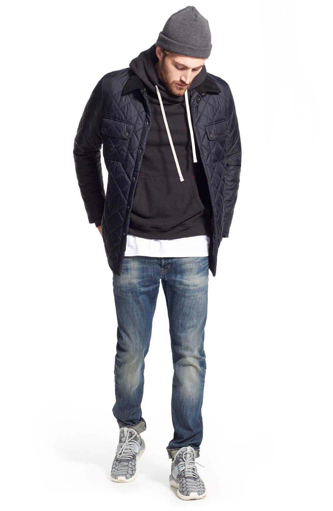 'Akenside' Regular Fit Quilted Jacket,                             Alternate thumbnail 4, color,                             001