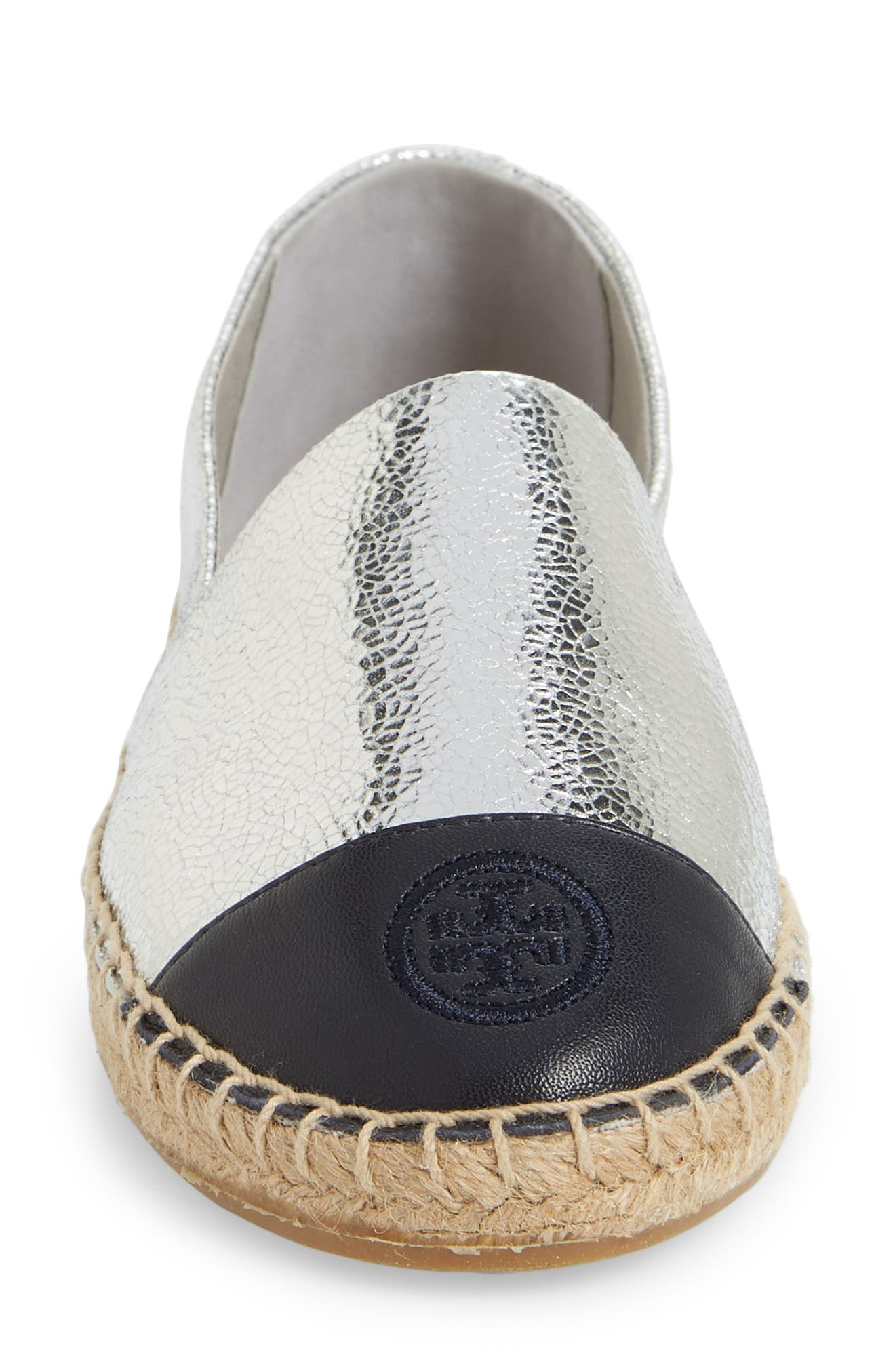 Colorblock Espadrille Flat,                             Alternate thumbnail 5, color,                             SILVER/ TORY NAVY