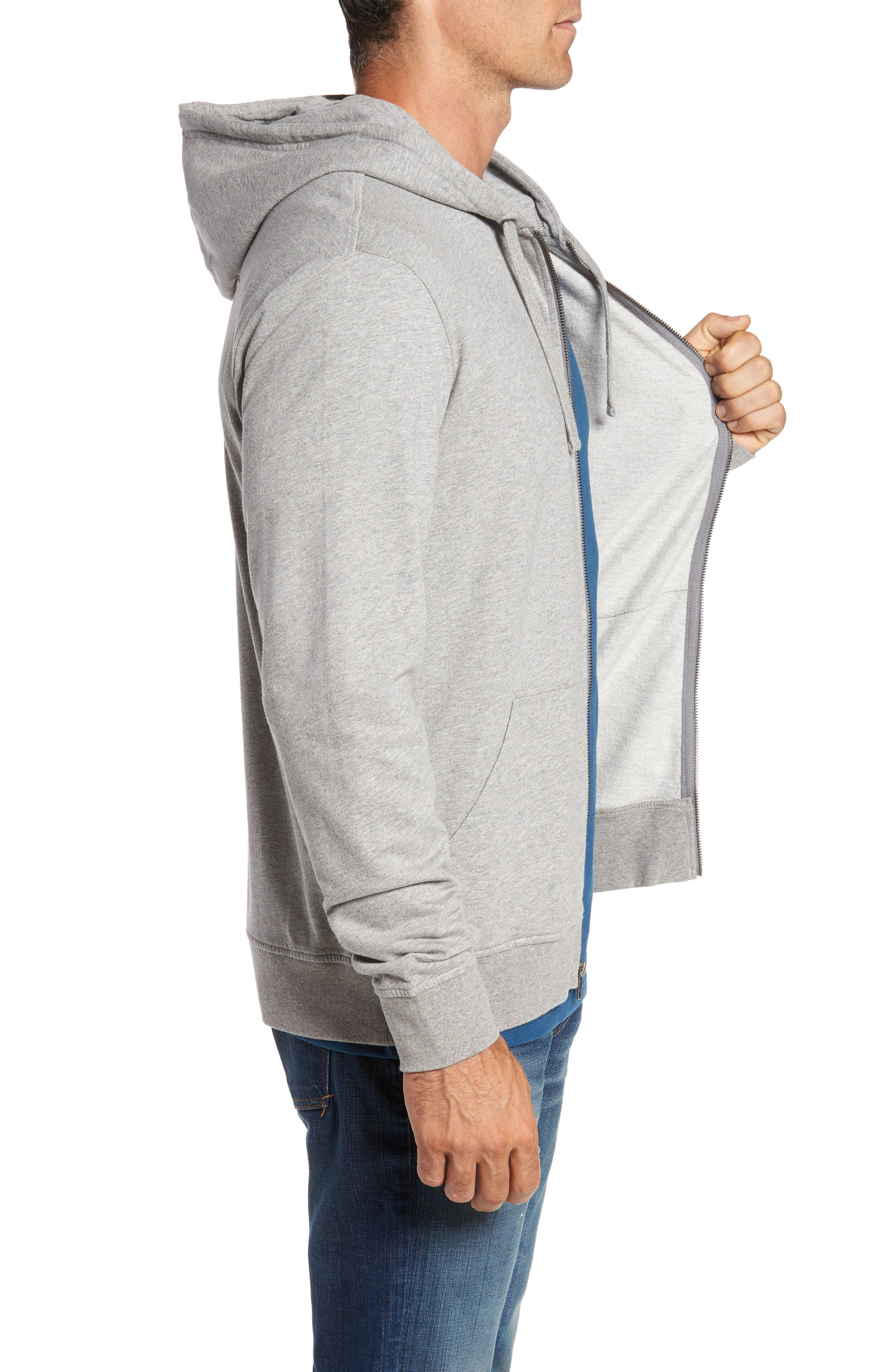 Up & Out Lightweight Zip Hoodie,                             Alternate thumbnail 3, color,                             020