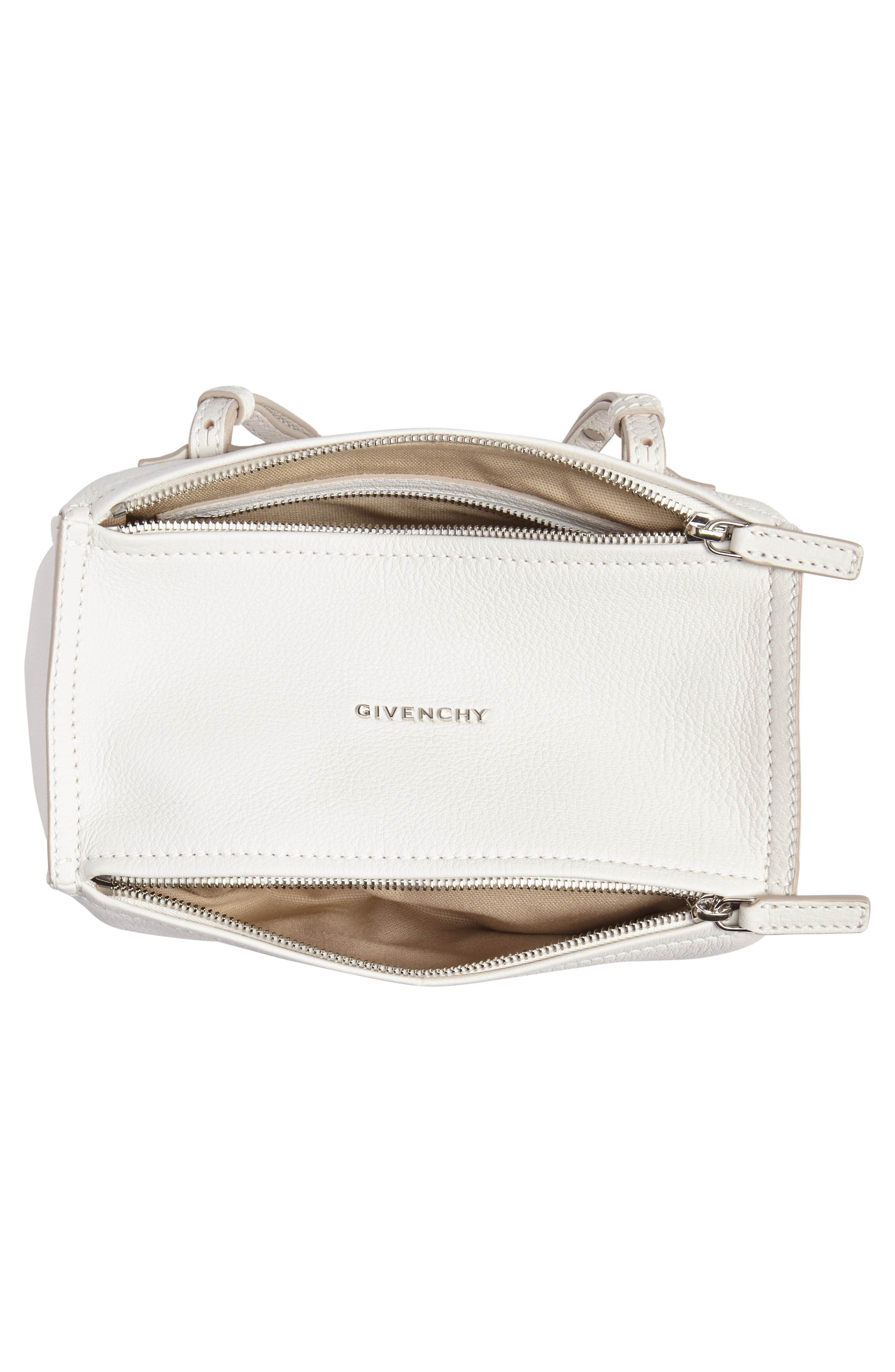 'Mini Pandora' Sugar Leather Shoulder Bag,                             Alternate thumbnail 4, color,                             WHITE