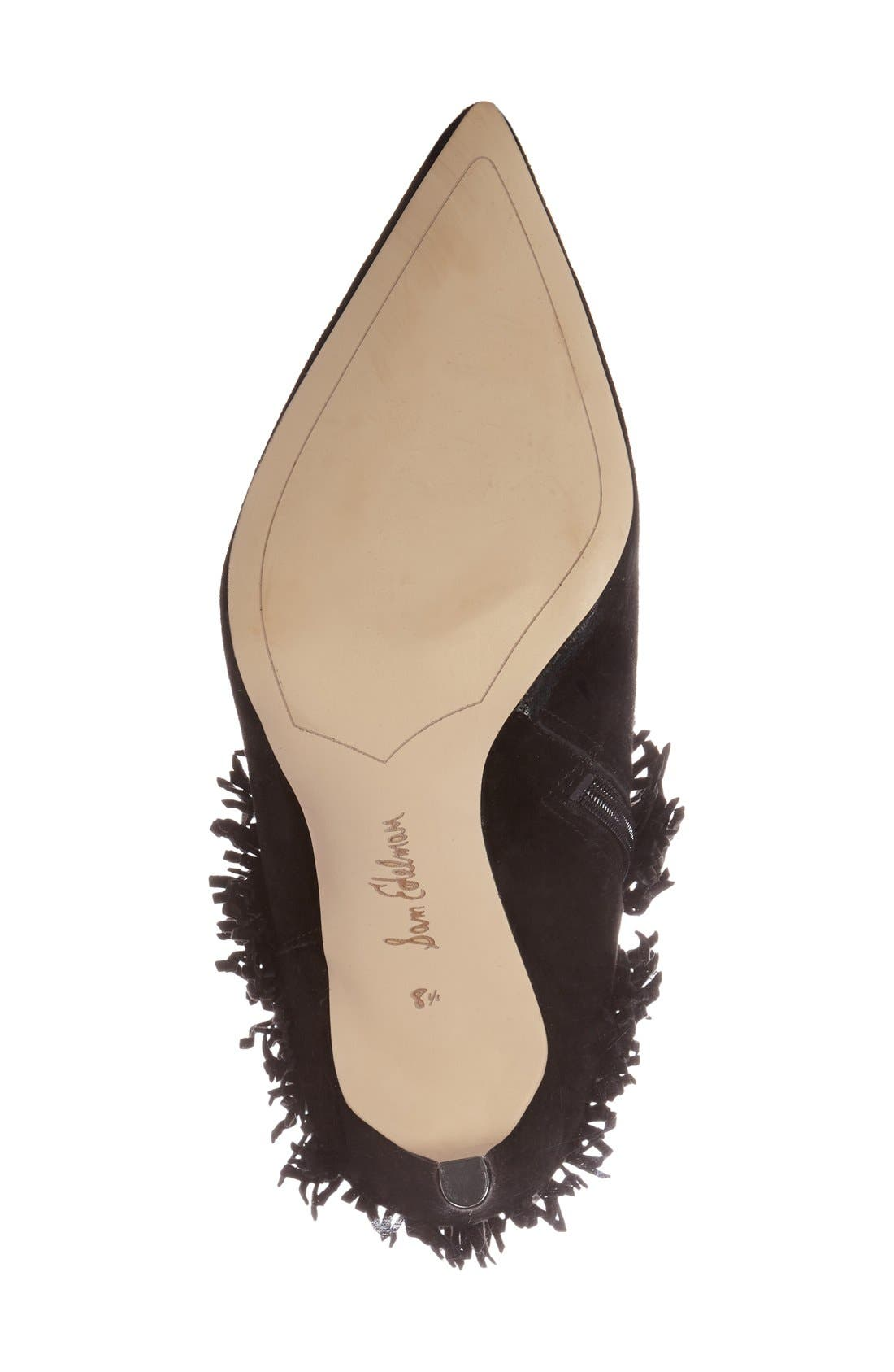 'Belinda' Fringed Suede Pointy Toe Boot,                             Alternate thumbnail 4, color,                             002