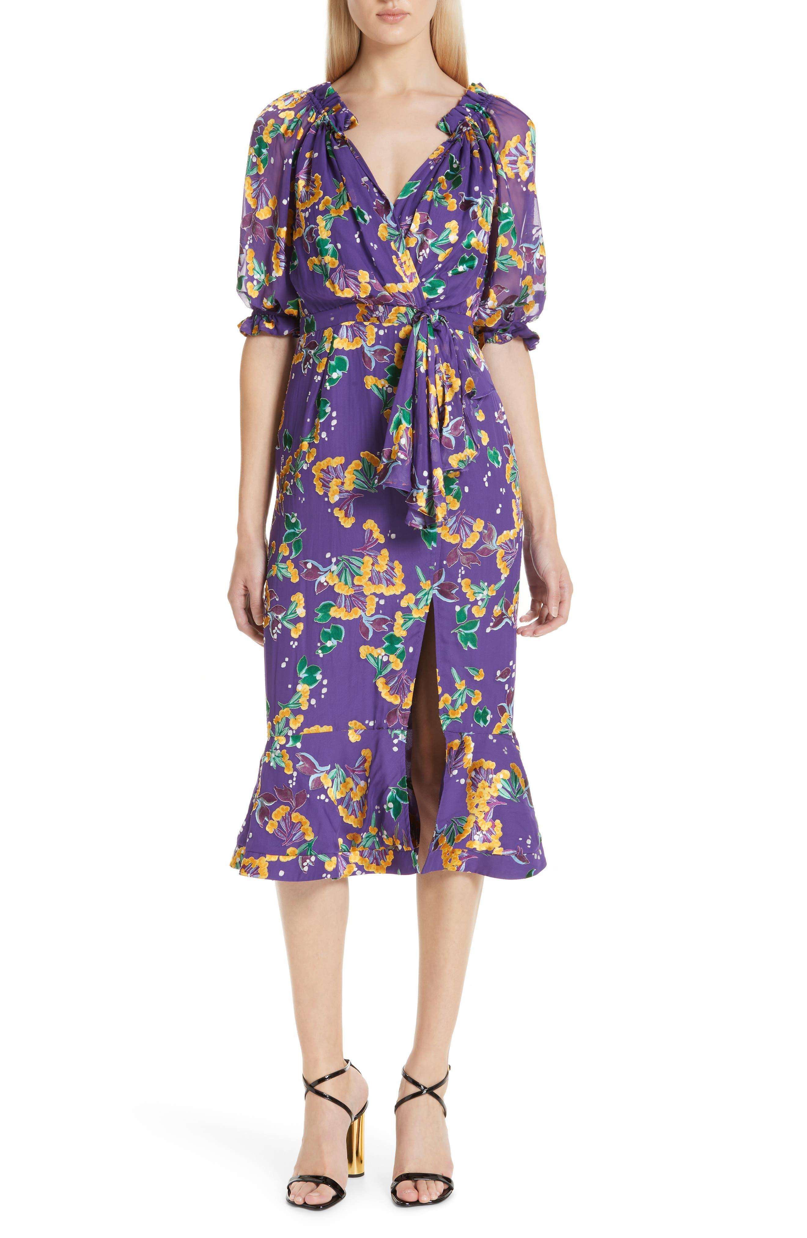 Olivia Silk Blend Midi Dress,                             Main thumbnail 1, color,                             VIOLET SWEETPEAS