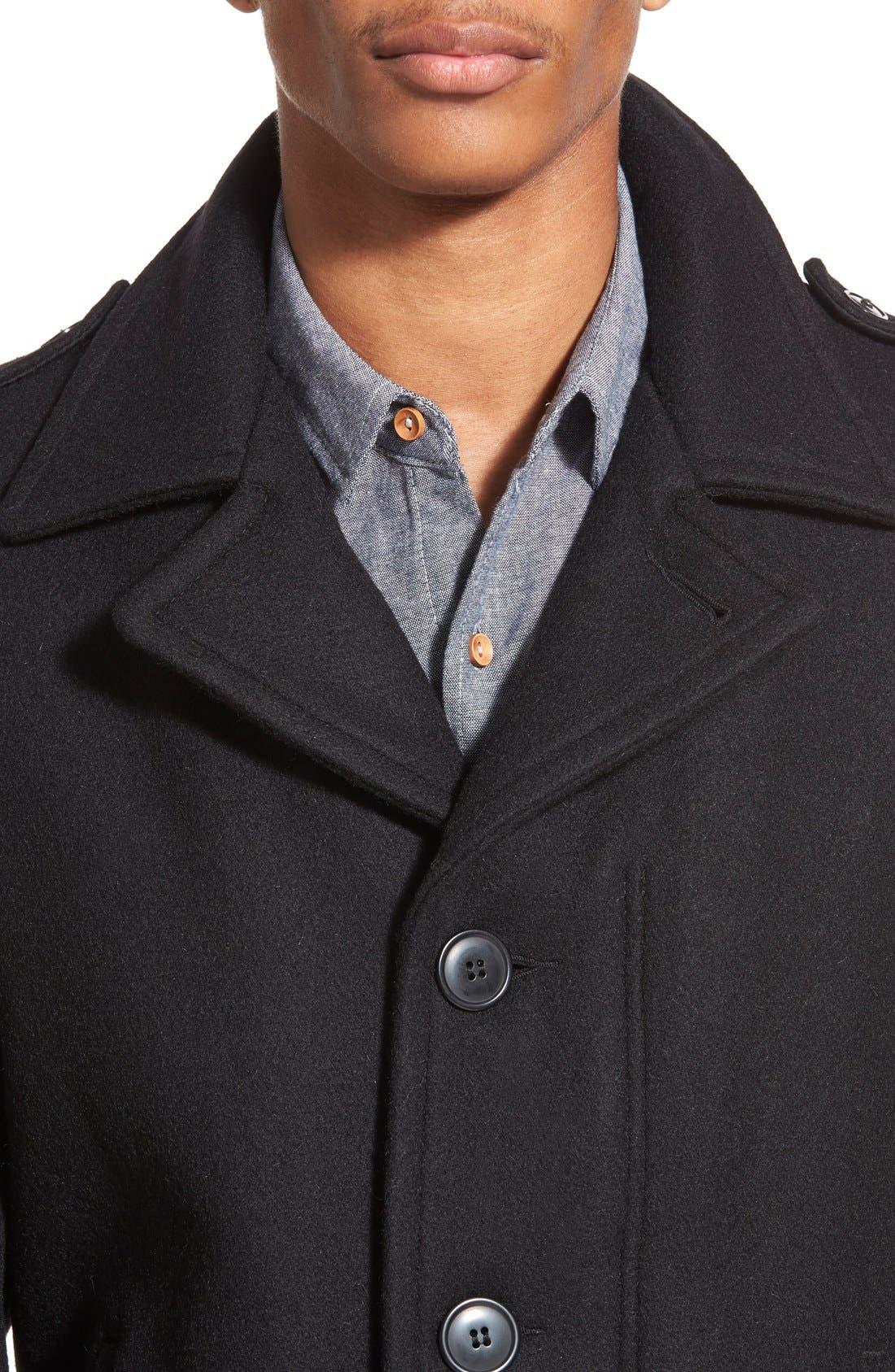 Slim Fit Wool Military Jacket,                             Alternate thumbnail 6, color,                             001