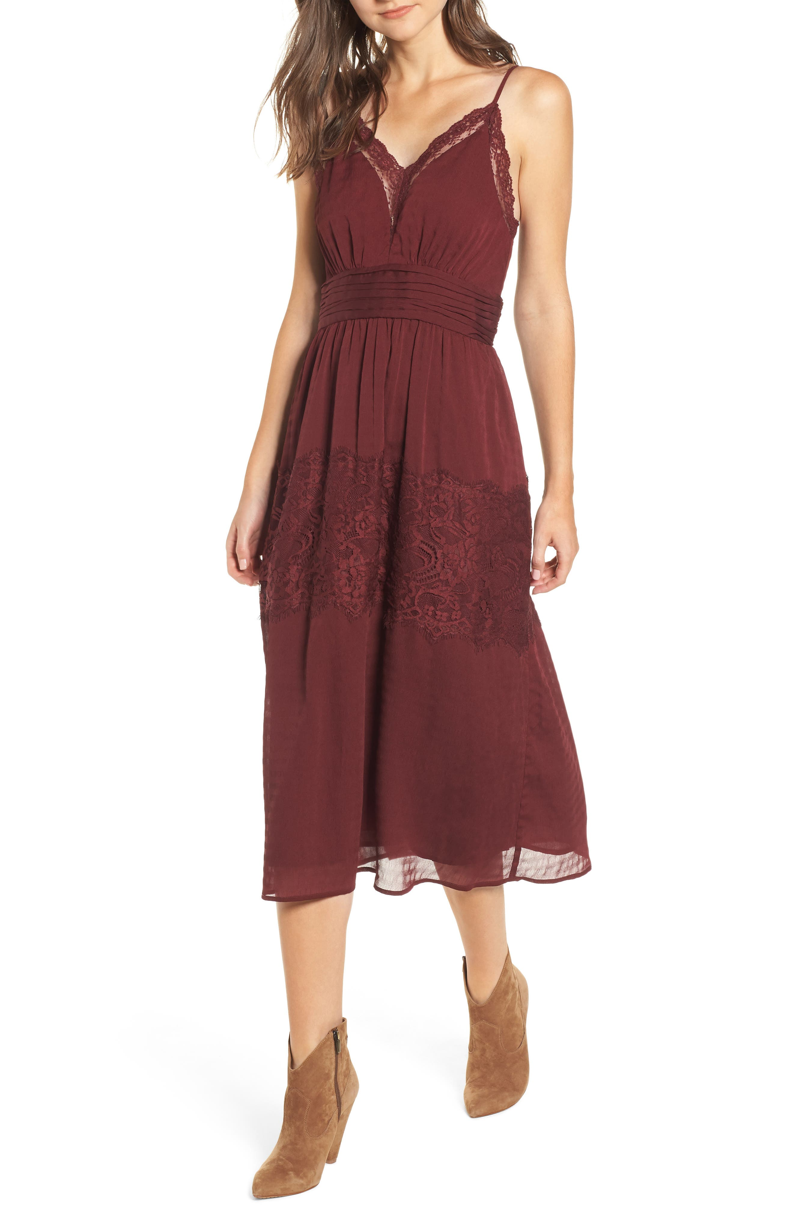 Lace Trim Midi Dress,                         Main,                         color, 930