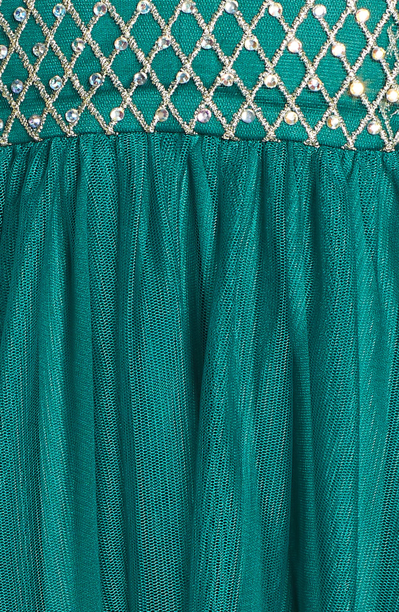 Embellished Bodice Gown,                             Alternate thumbnail 6, color,                             EVERGREEN