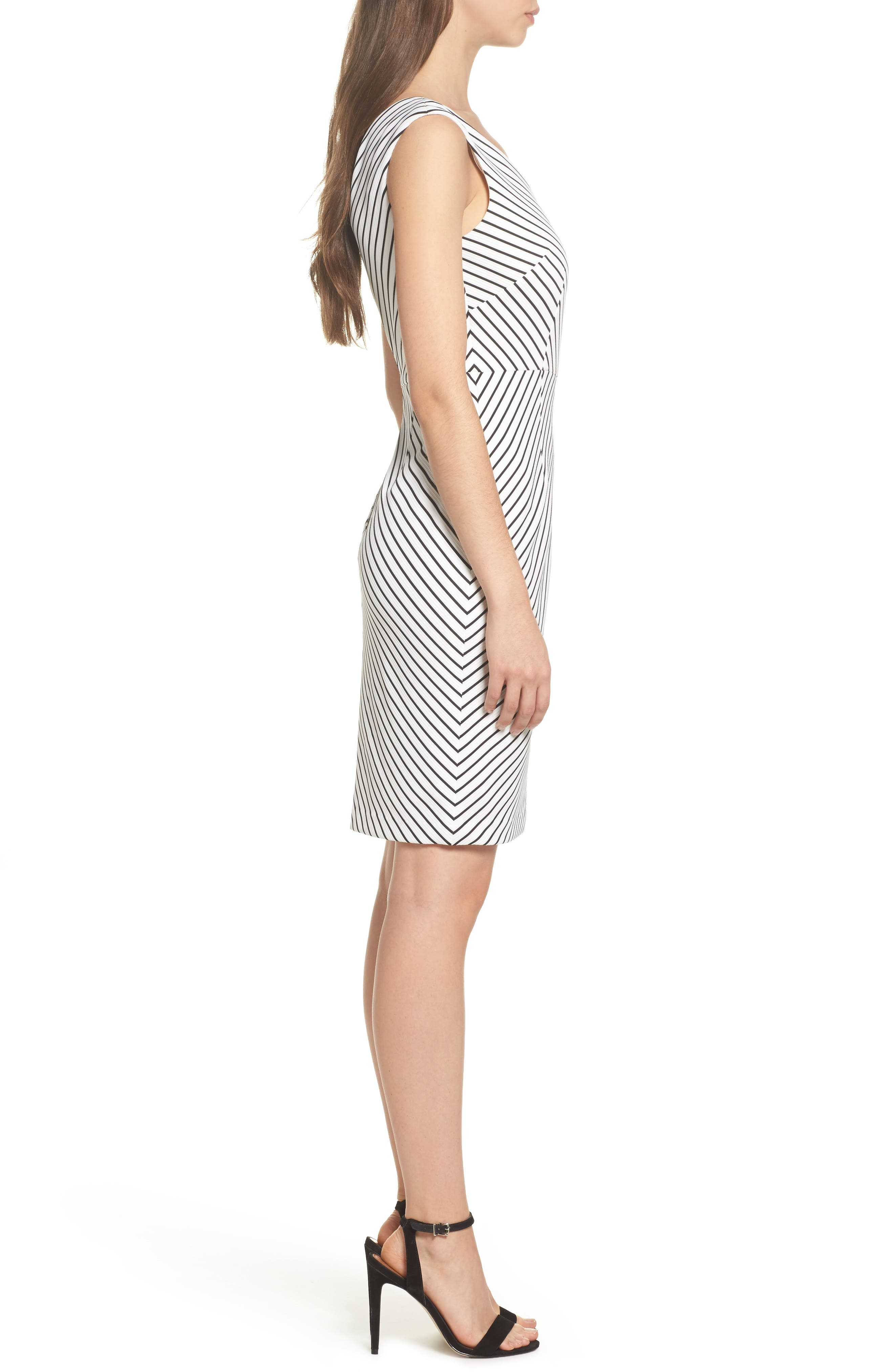 Stripe Ottoman Sheath Dress,                             Alternate thumbnail 3, color,                             901
