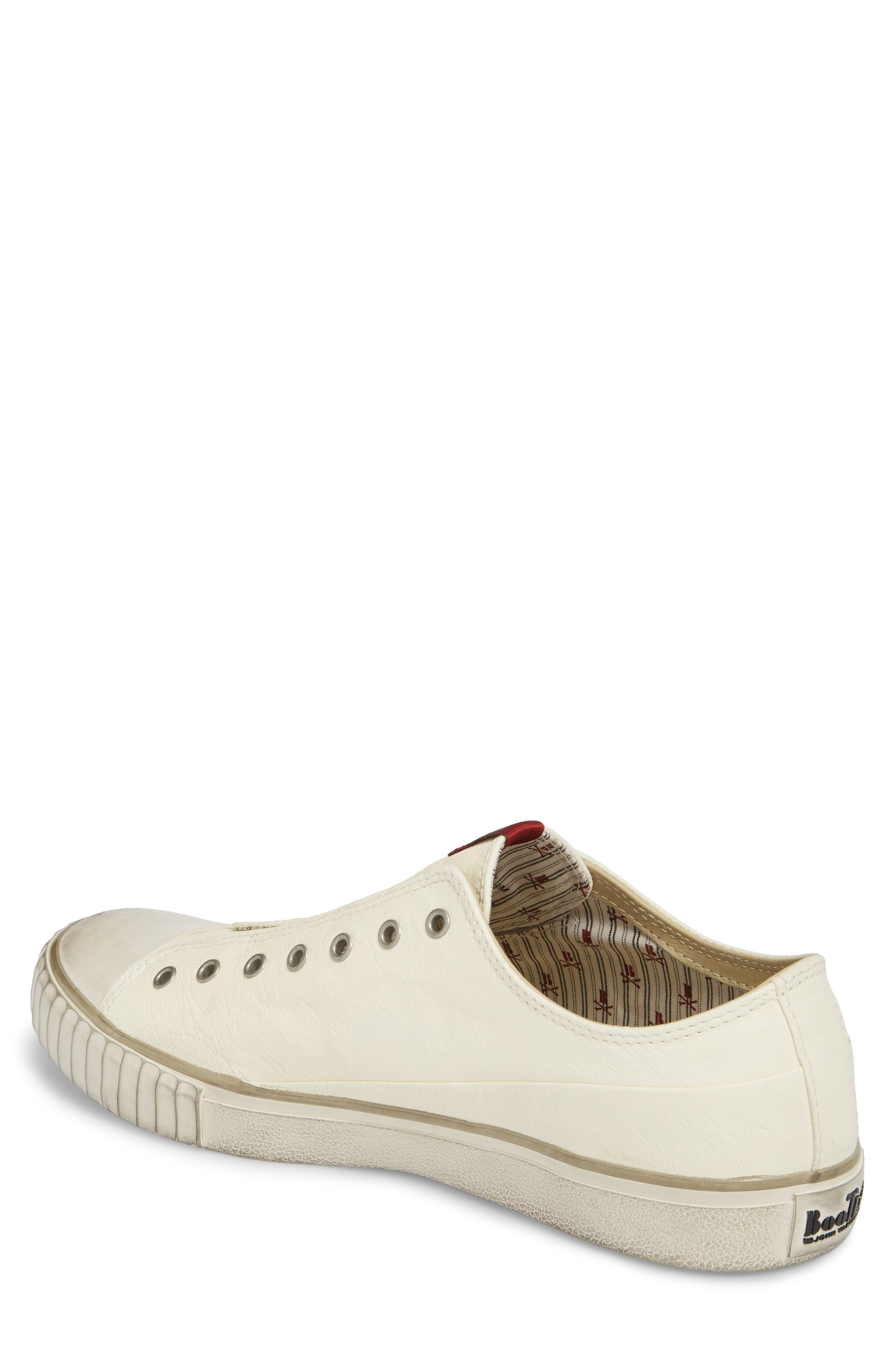 Laceless Low Top Sneaker,                             Alternate thumbnail 2, color,                             WHITE LEATHER