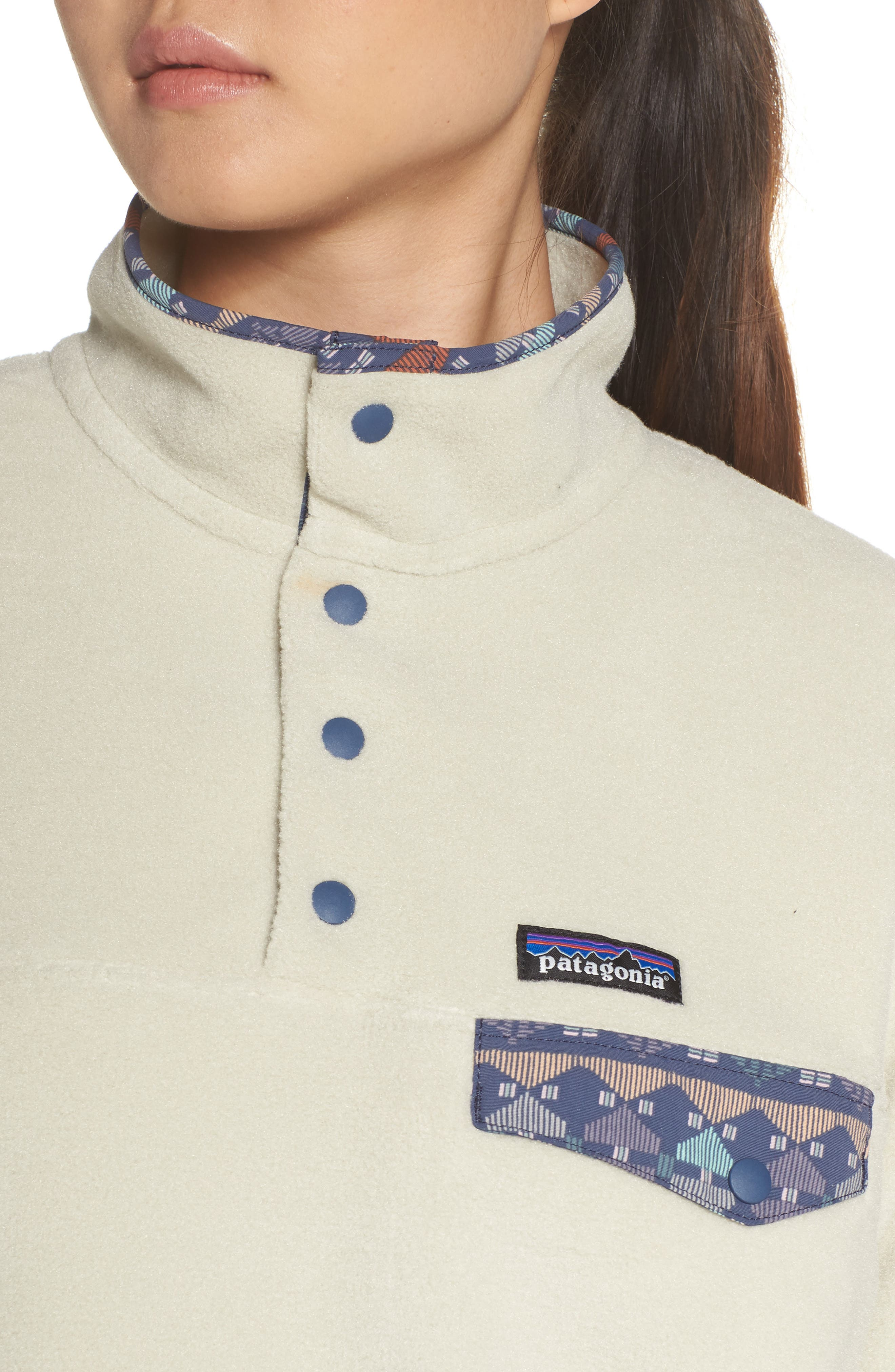 Synchilla Snap-T<sup>®</sup> Fleece Pullover,                             Alternate thumbnail 4, color,                             PELICAN W/ STONE BLUE