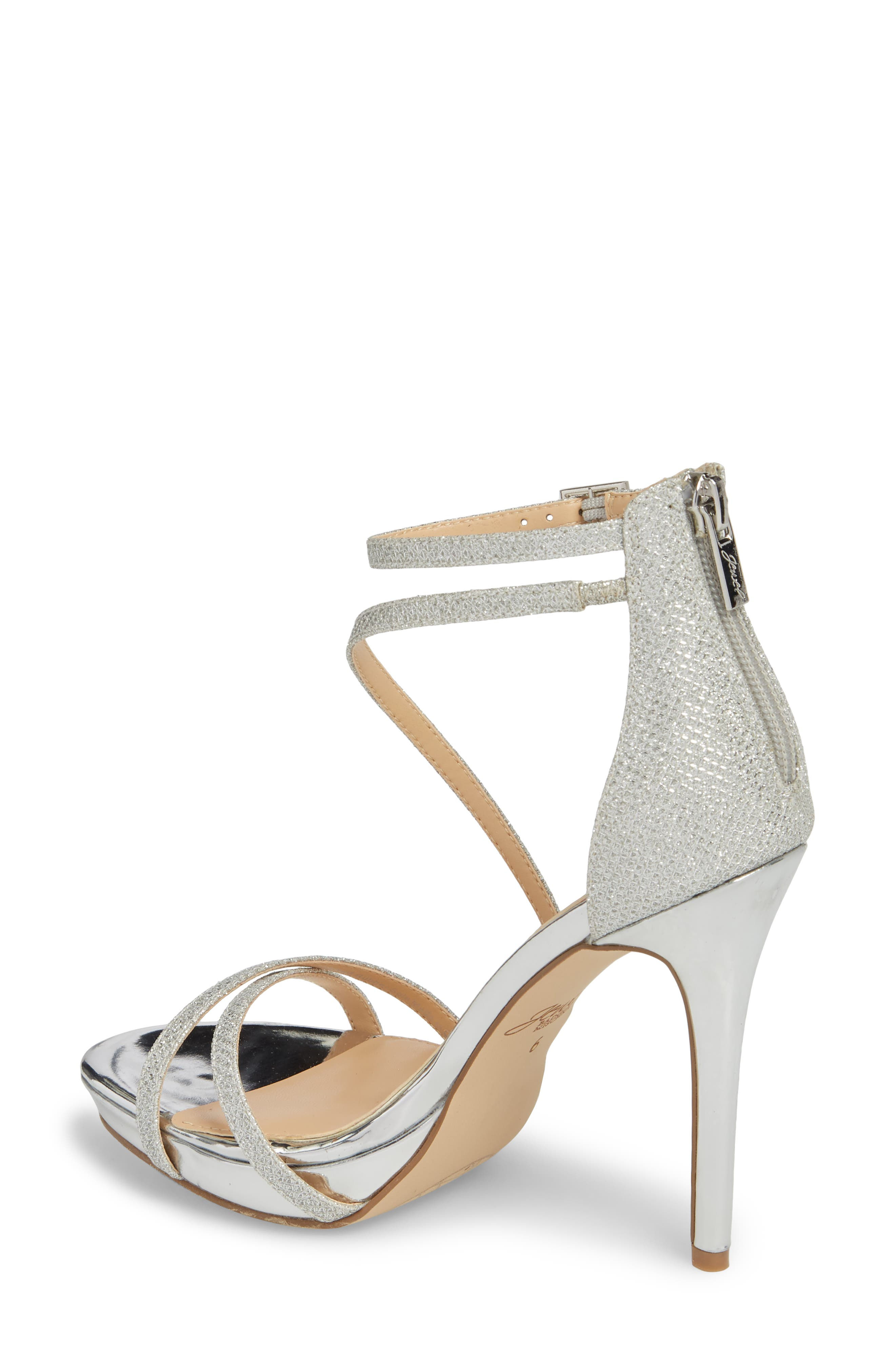 Galen Strappy Platform Sandal,                             Alternate thumbnail 2, color,                             SILVER GLITTER FABRIC