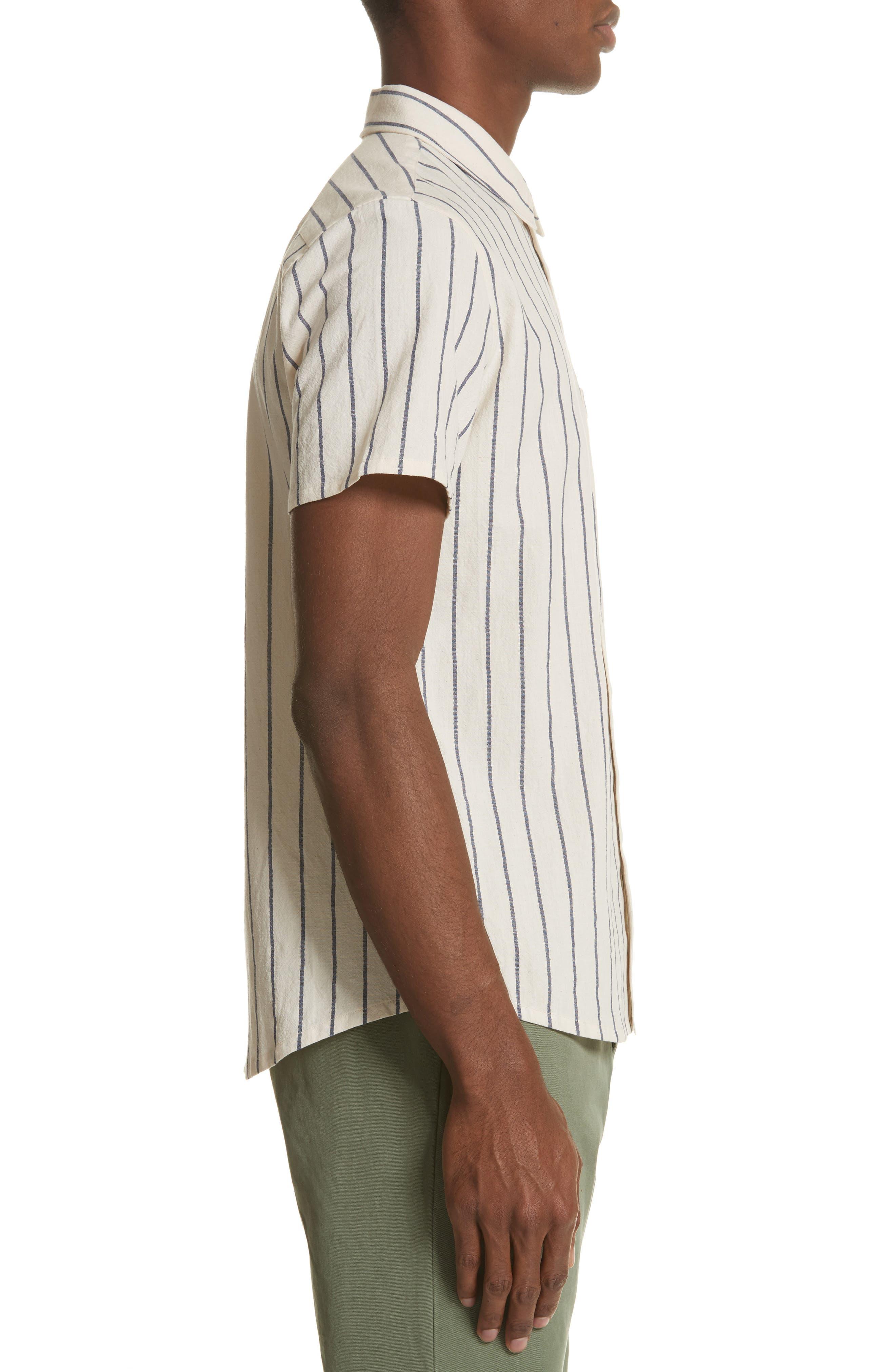 Bryan Stripe Woven Shirt,                             Alternate thumbnail 3, color,                             ECRU