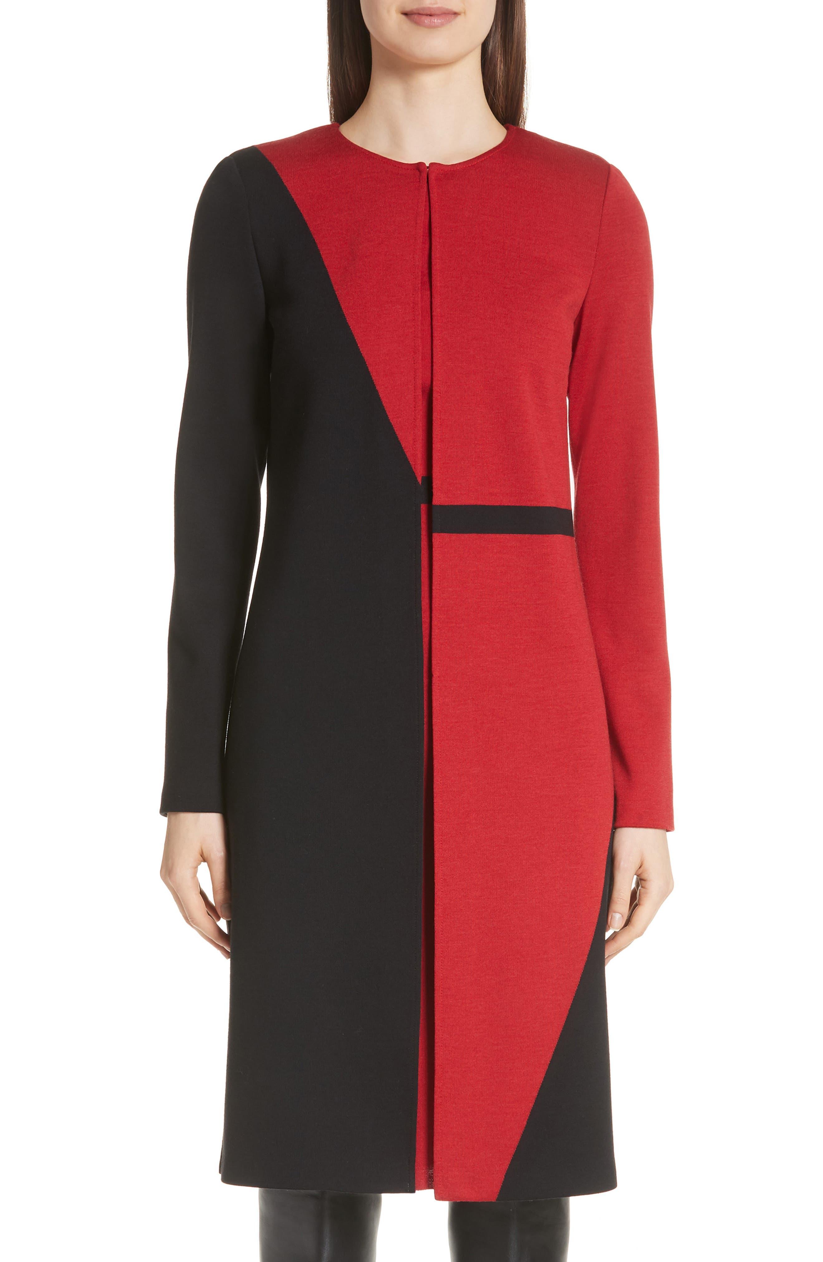 ST. JOHN Slanted Colorblock Milano Knit Topper Jacket in Caviar/ Burnt Red