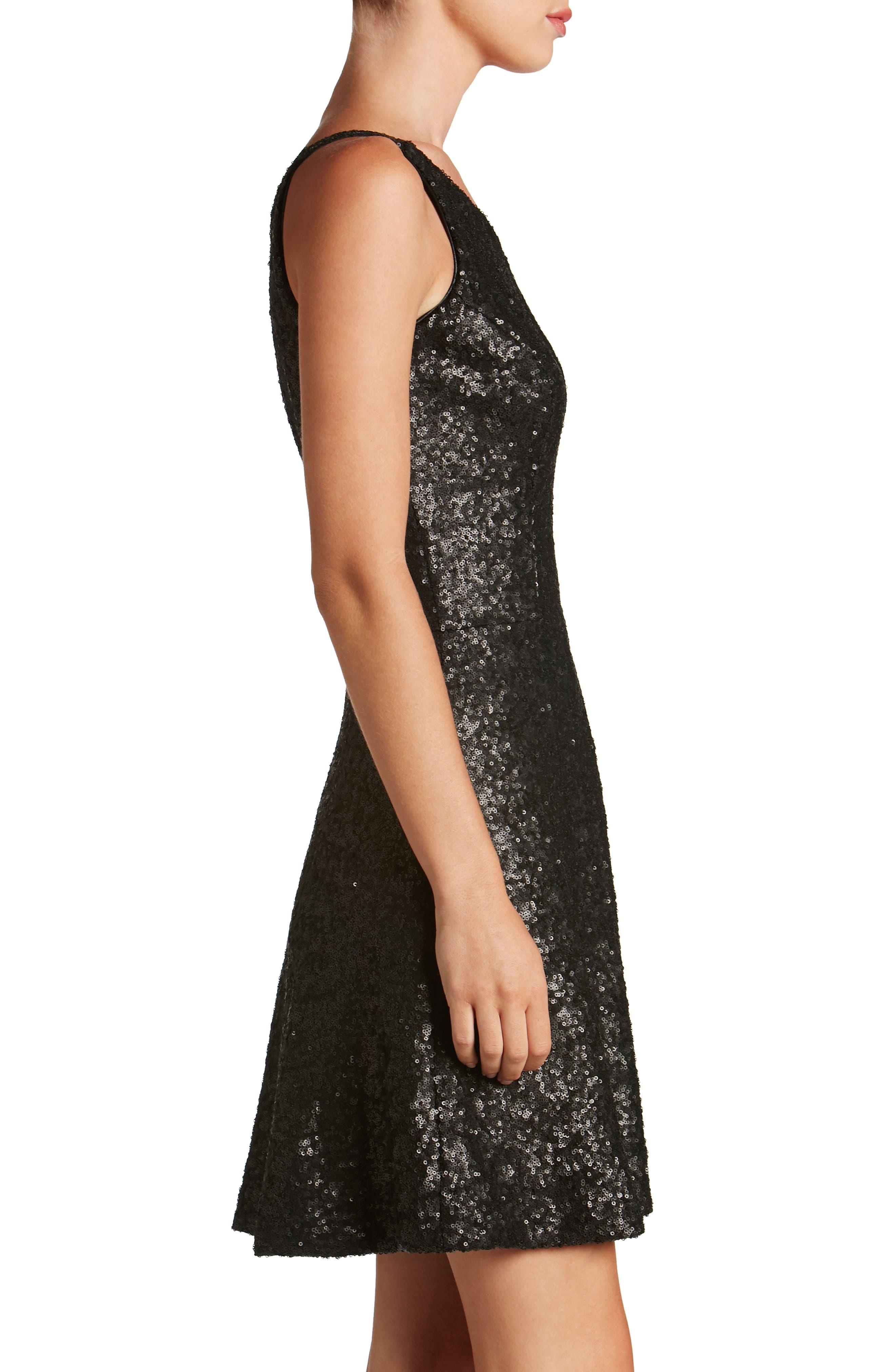Tina One-Shoulder Sequin Fit & Flare Dress,                             Alternate thumbnail 3, color,                             018