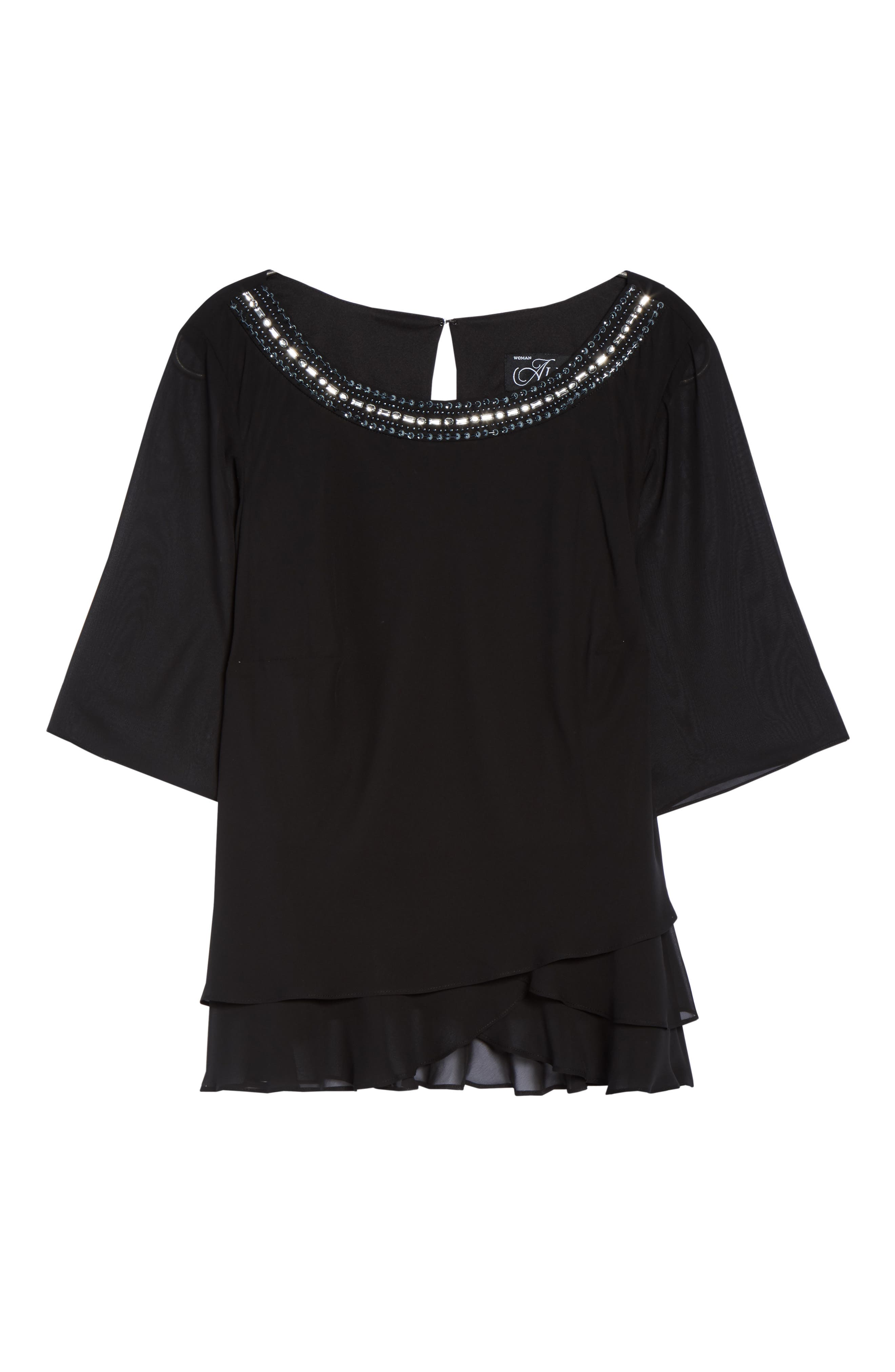 Embellished Tiered Chiffon Blouse,                             Alternate thumbnail 6, color,                             001