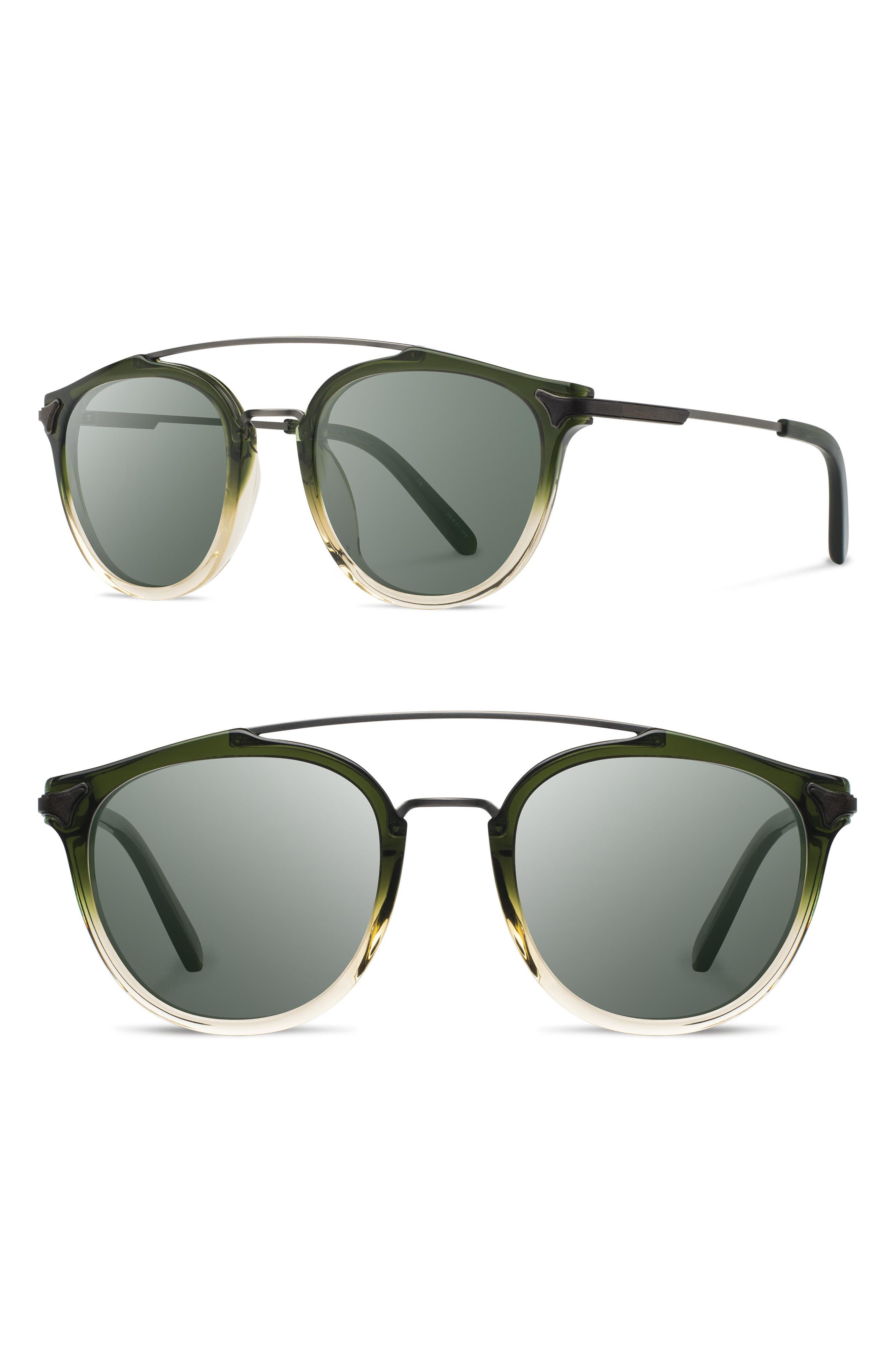Shwood Kinsrow 4m Polarized Round Sunglasses - Mojito/ G15
