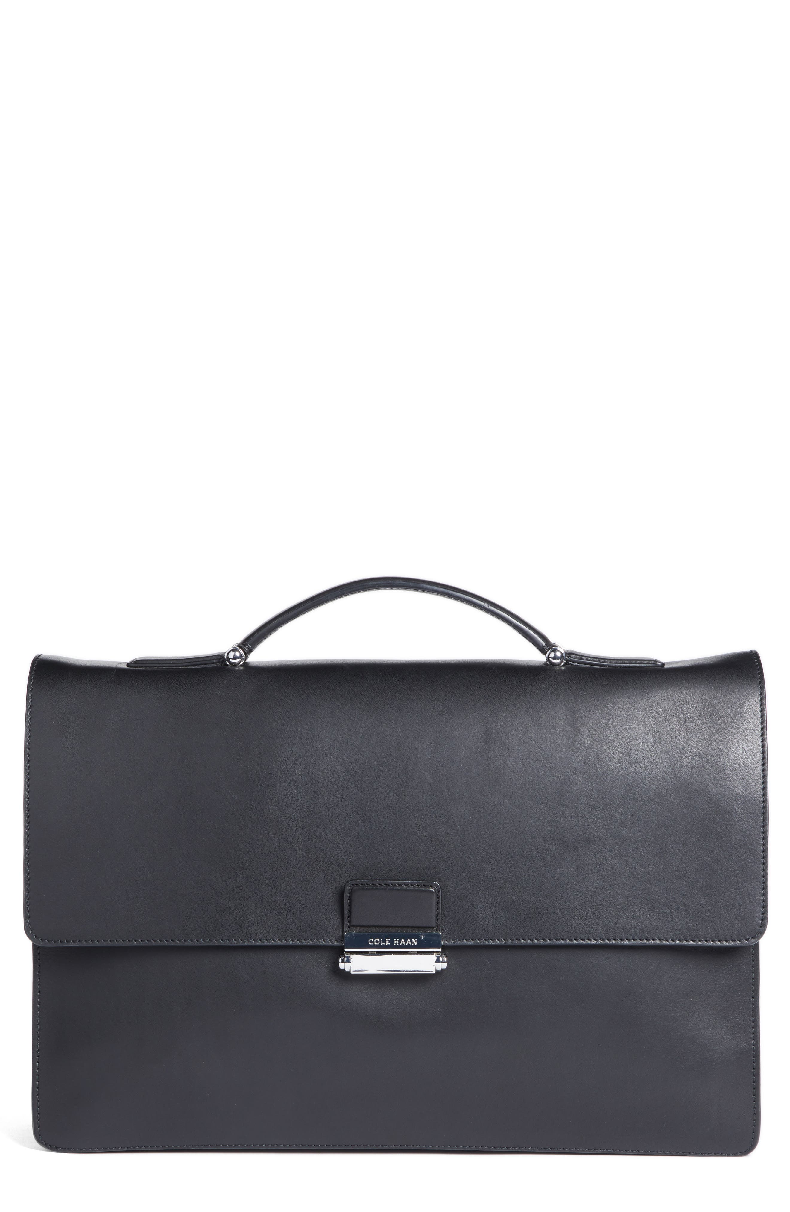 Leather Briefcase, Main, color, 001