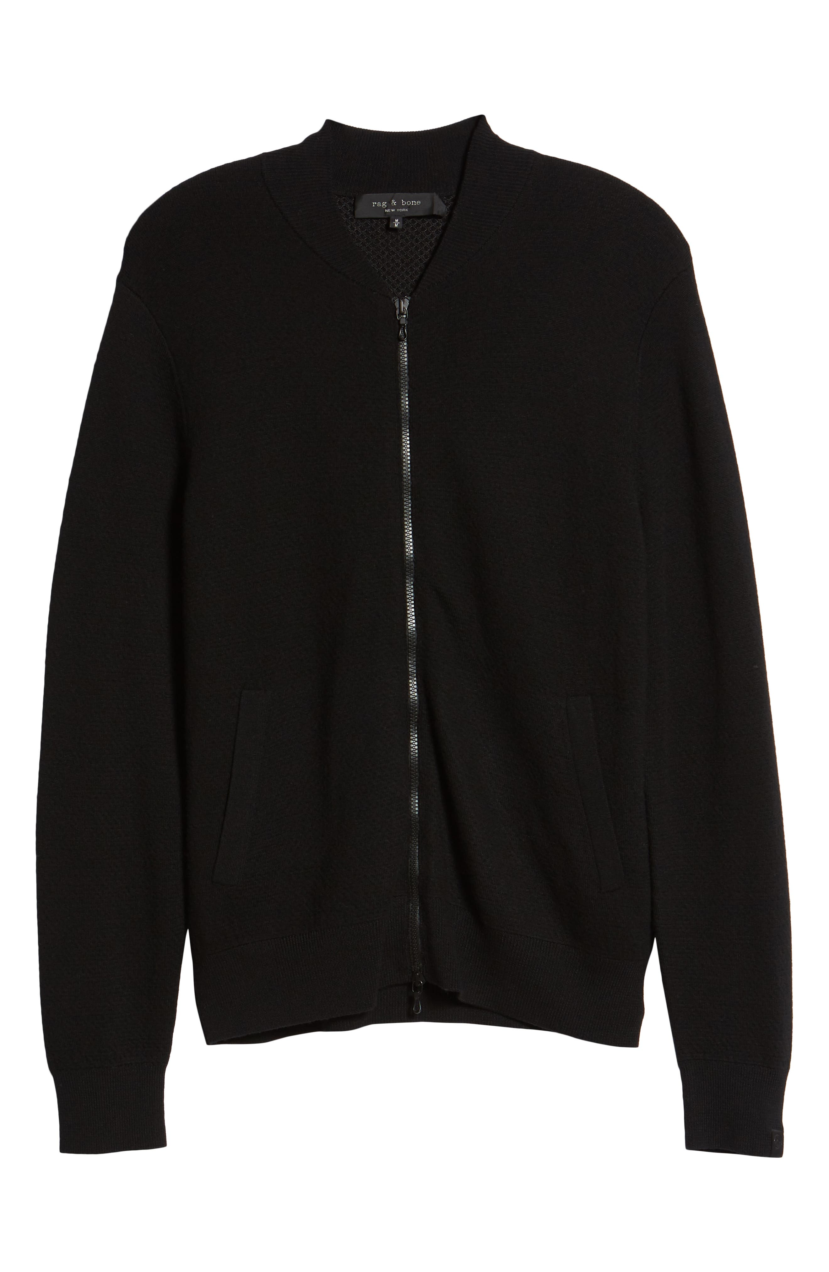 Orwell Slim Fit Wool Bomber Jacket,                             Alternate thumbnail 5, color,                             BLACK/ BLACK