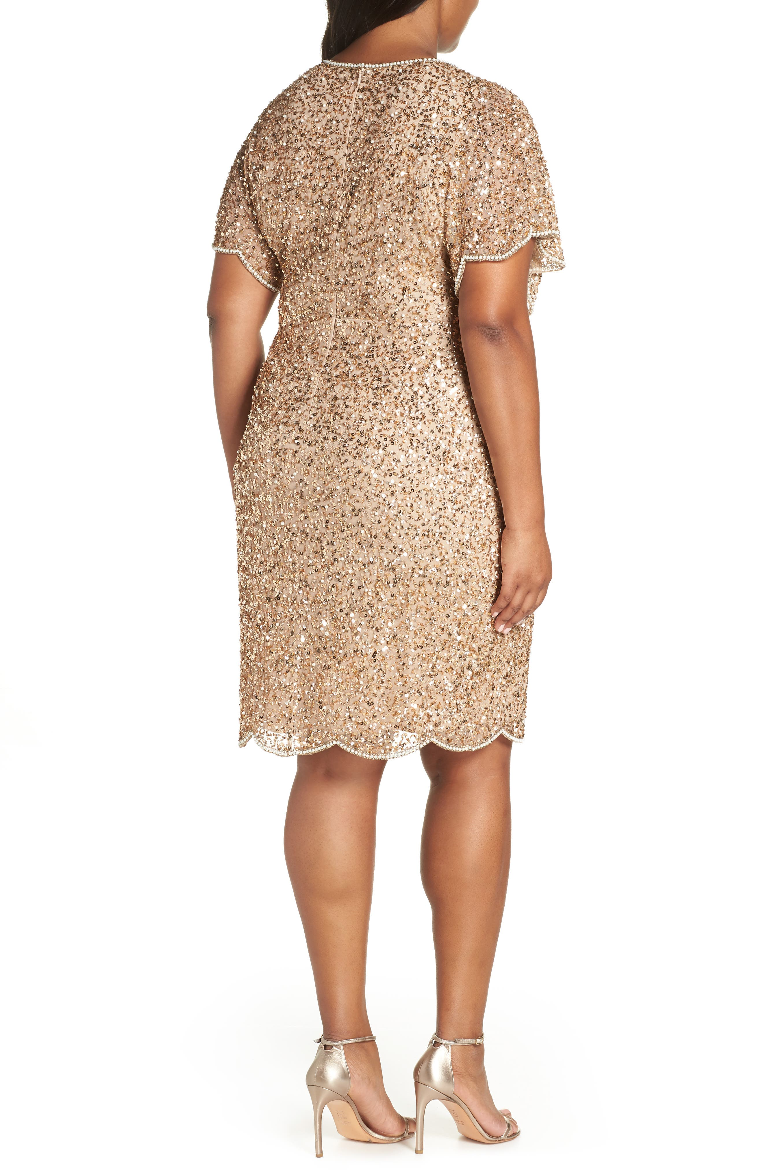 Beaded Flutter Sleeve Sheath Dress,                             Alternate thumbnail 2, color,                             CHAMPAGNE/ GOLD