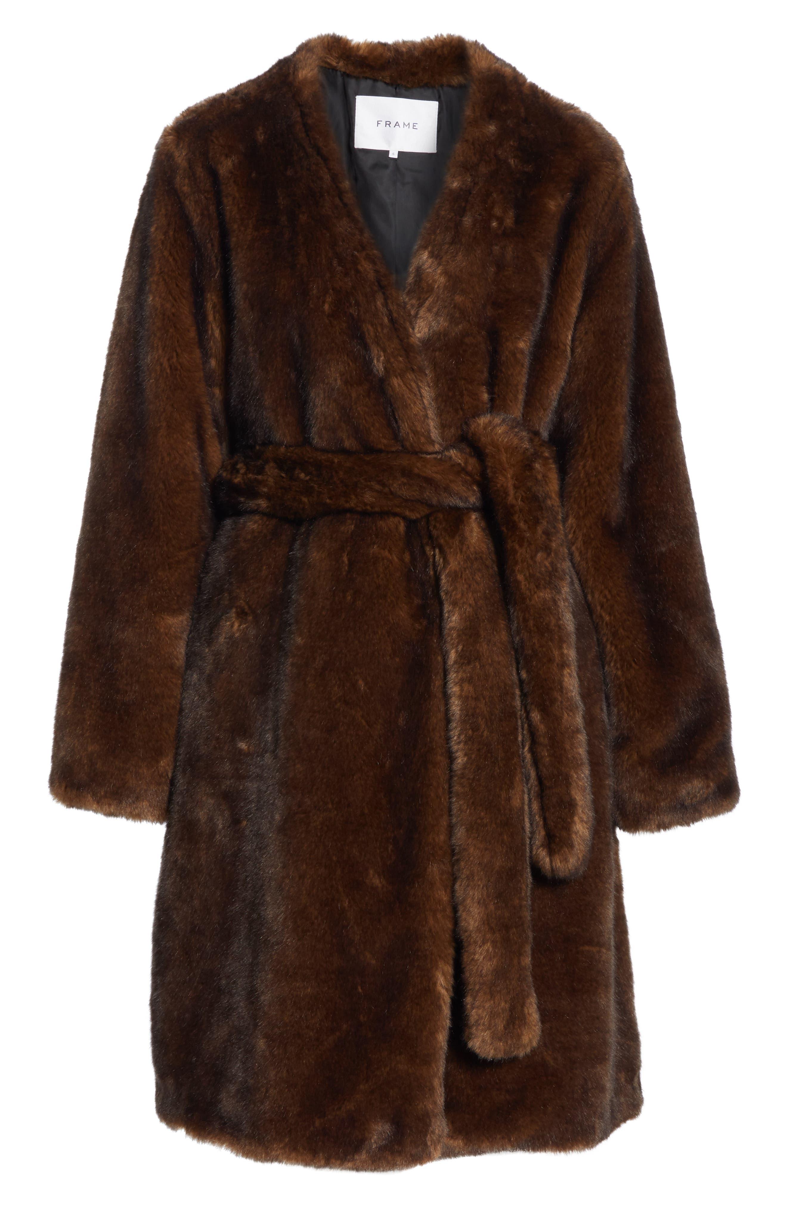 FRAME,                             Faux Mink Fur Robe Coat,                             Alternate thumbnail 6, color,                             201