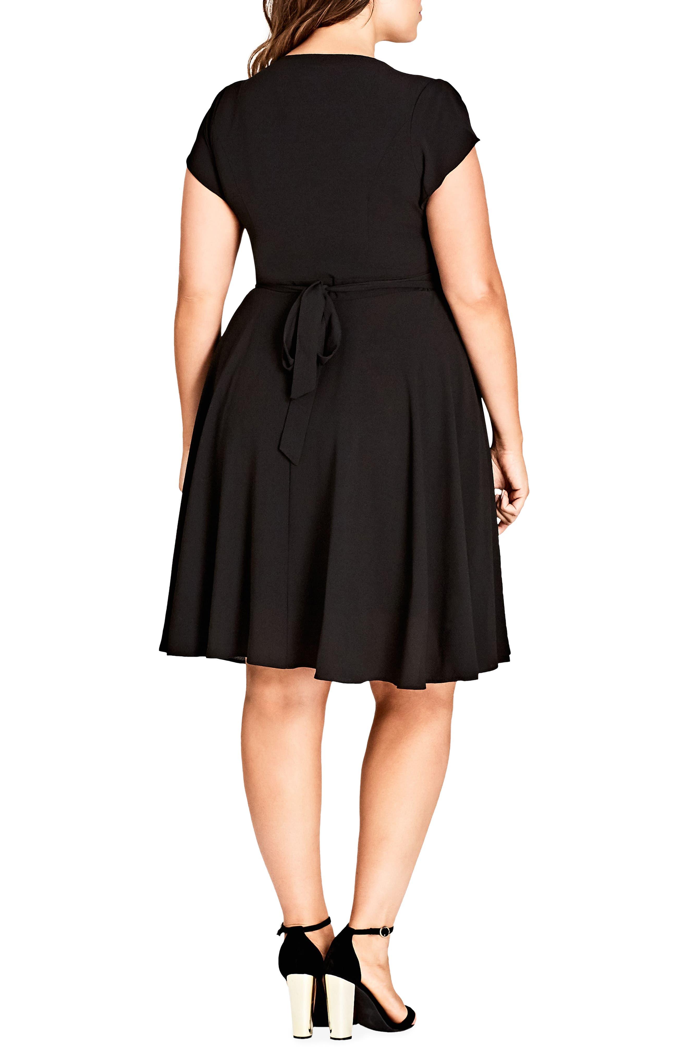 Button Fit & Flare Dress,                             Alternate thumbnail 2, color,                             BLACK