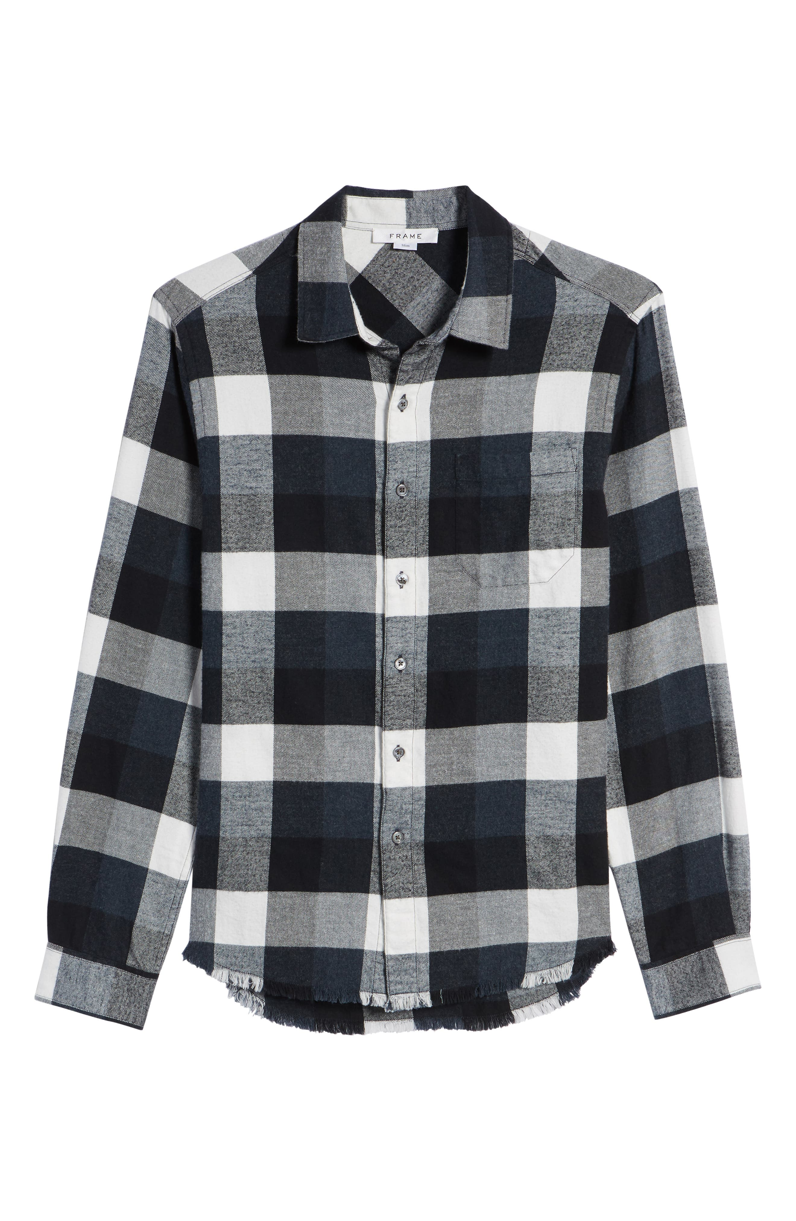 Classic Fit Flannel Sport Shirt,                             Alternate thumbnail 6, color,                             001