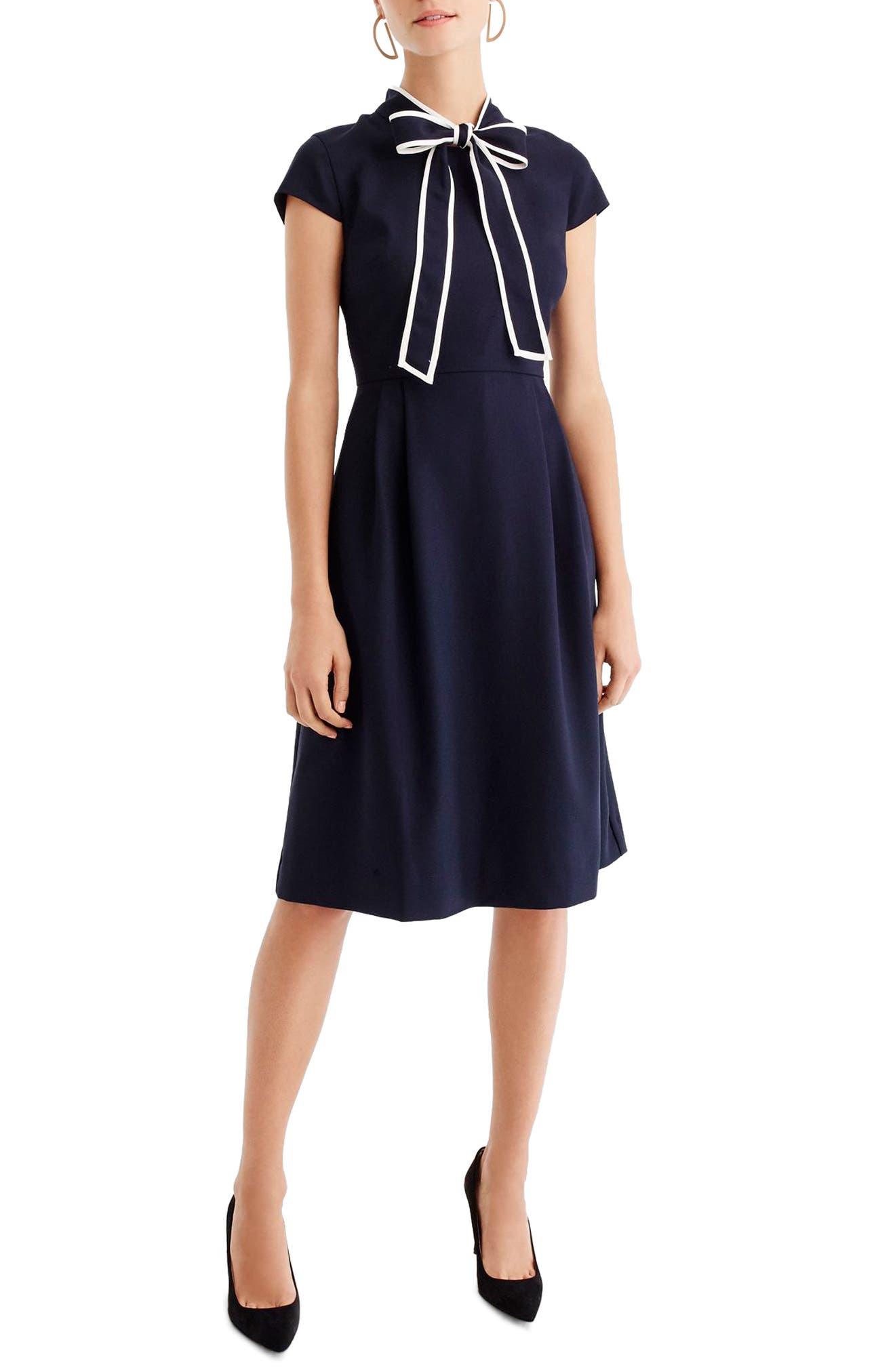 1930s Dresses | 30s Art Deco Dress Womens J.crew Tie-Neck Dress $94.80 AT vintagedancer.com