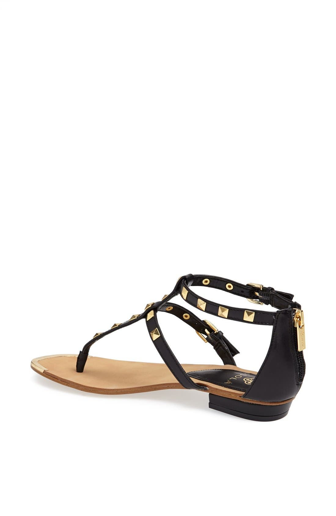 'Adie' Studded Leather Thong Sandal,                             Alternate thumbnail 2, color,                             001
