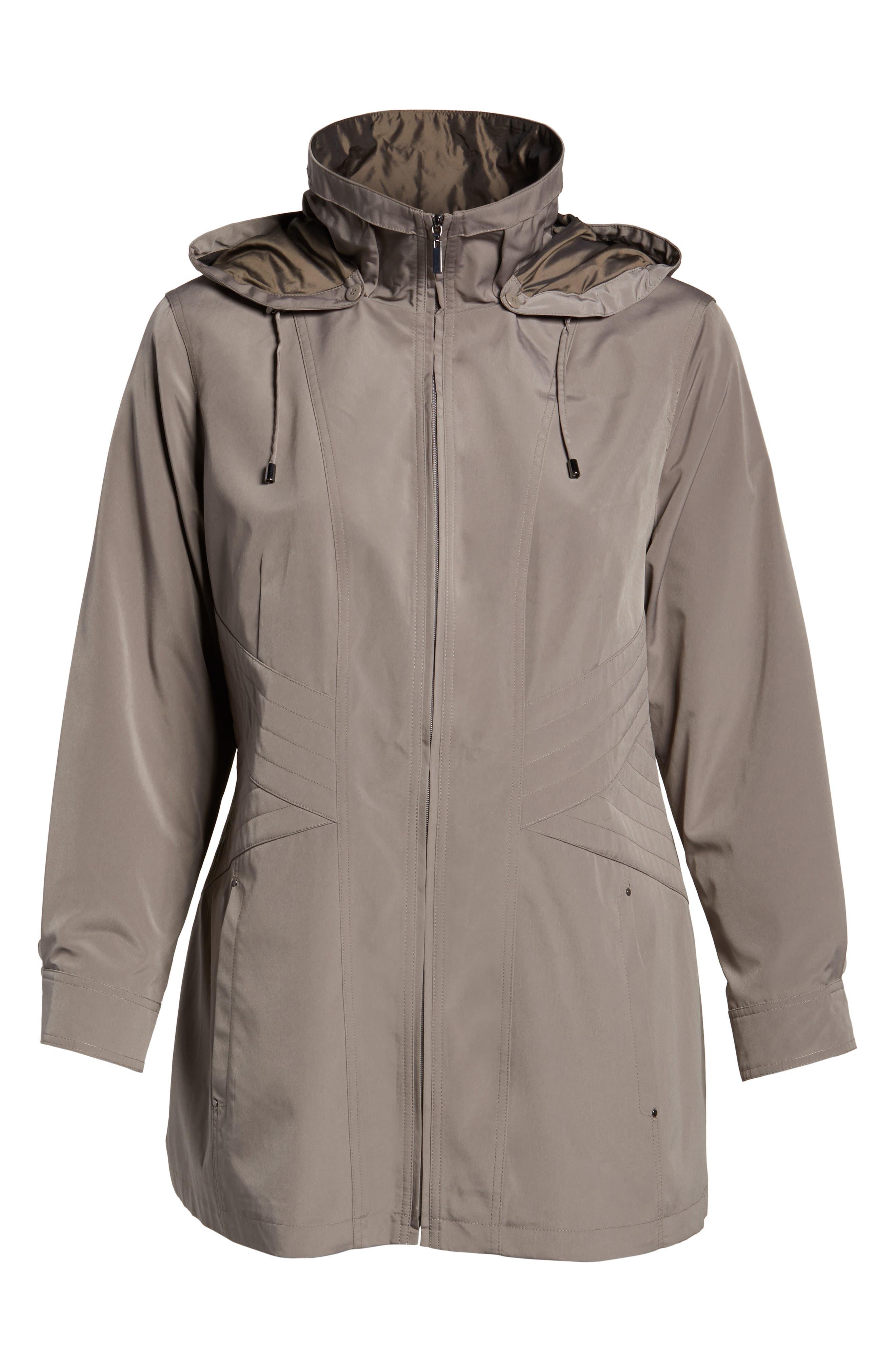 Two-Tone Long Silk Look Raincoat,                             Alternate thumbnail 10, color,