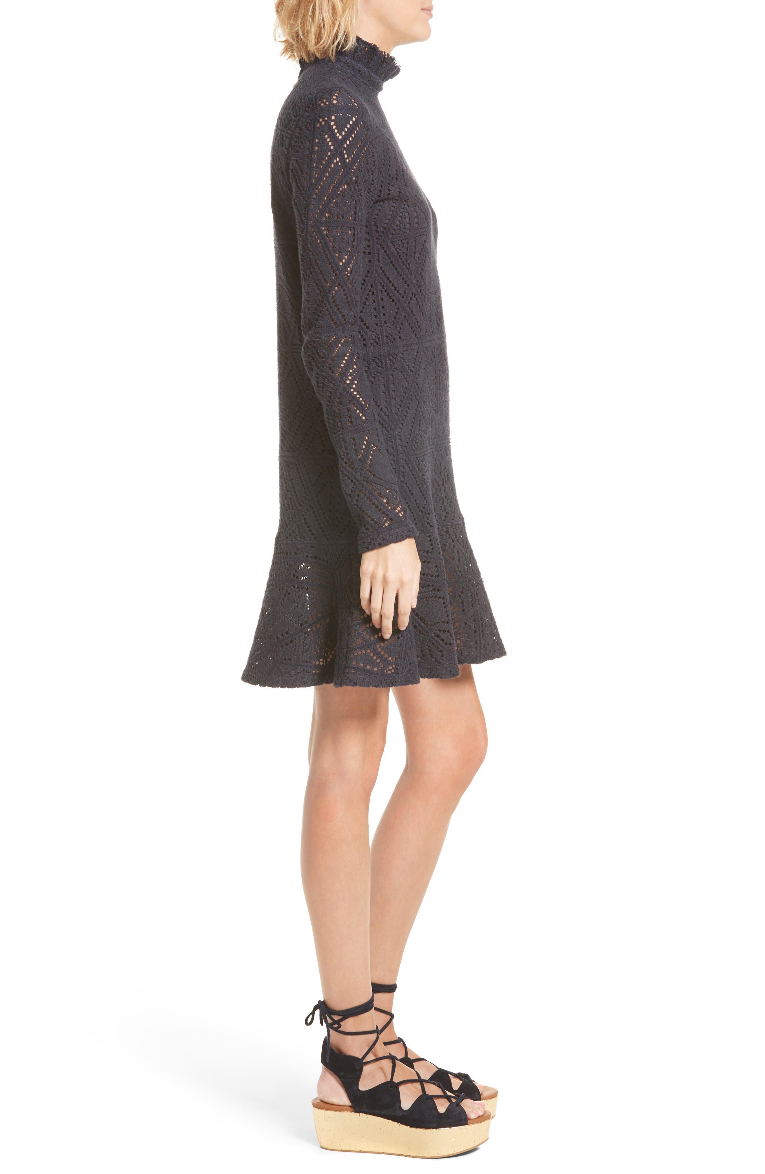 Lace Ruffle Hem Minidress,                             Alternate thumbnail 3, color,                             401