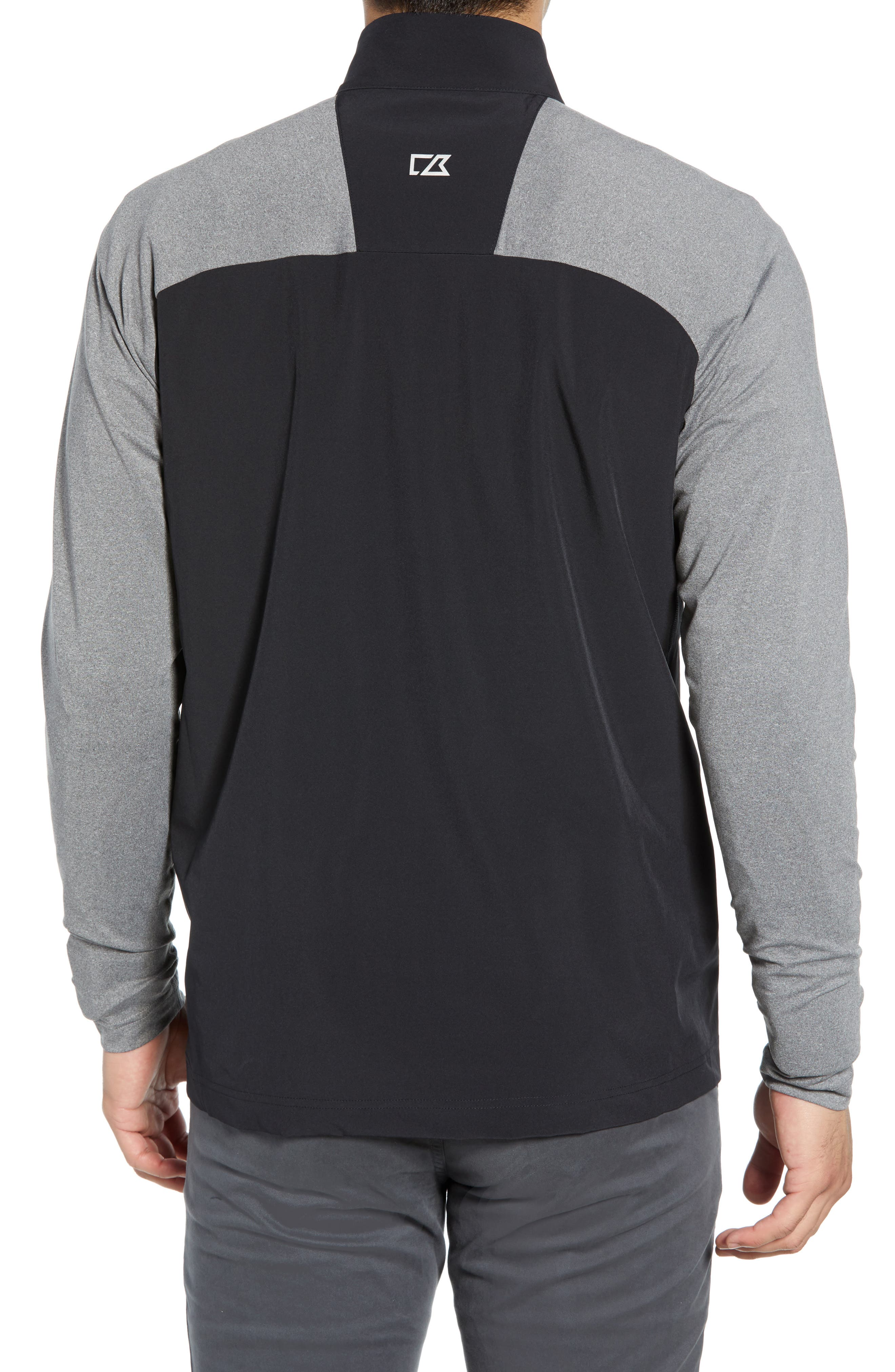 Response Hybrid Overknit Quarter Zip Pullover,                             Alternate thumbnail 2, color,                             BLACK
