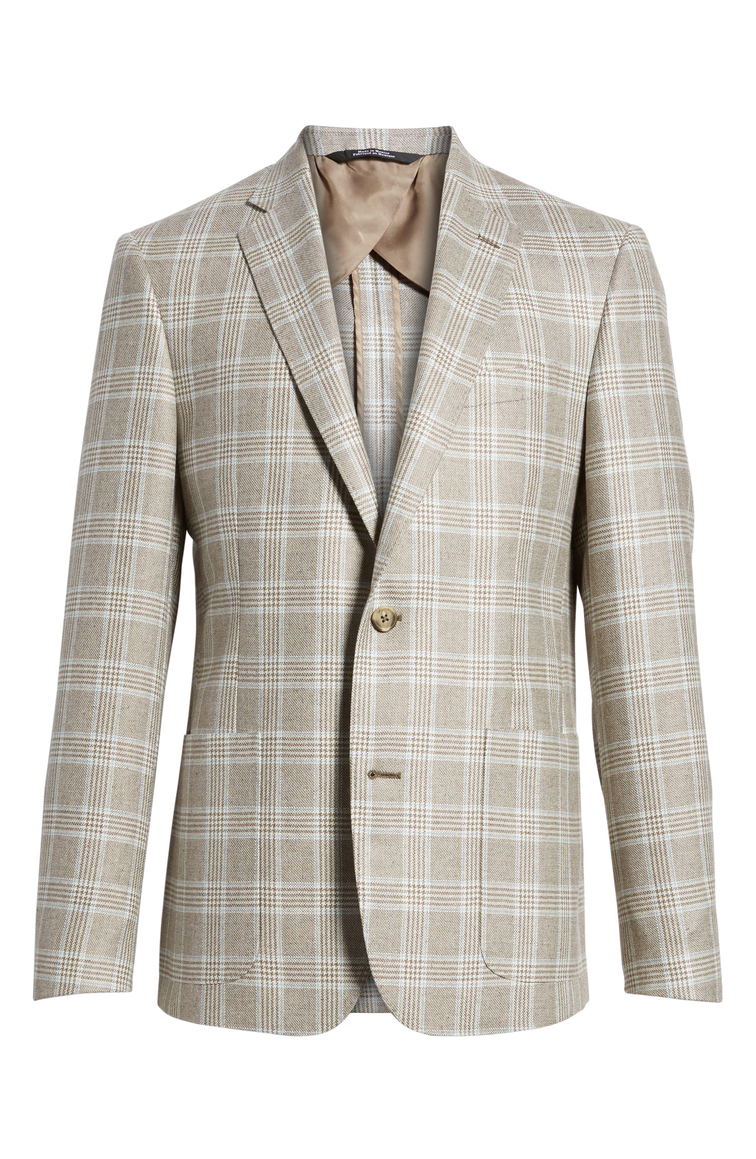 Trim Fit Plaid Silk & Wool Sport Coat,                             Alternate thumbnail 5, color,                             235