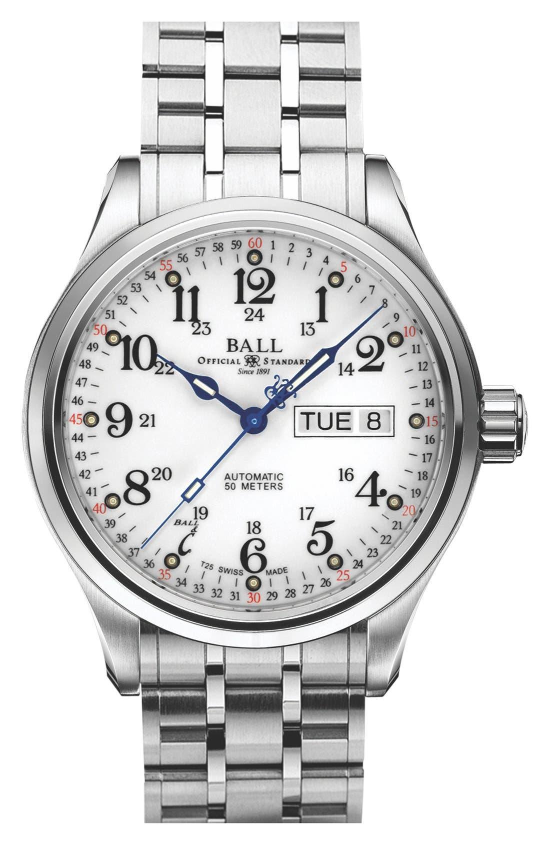 'Trainmaster 60 Seconds II' Bracelet Watch, 41mm, Main, color, 100
