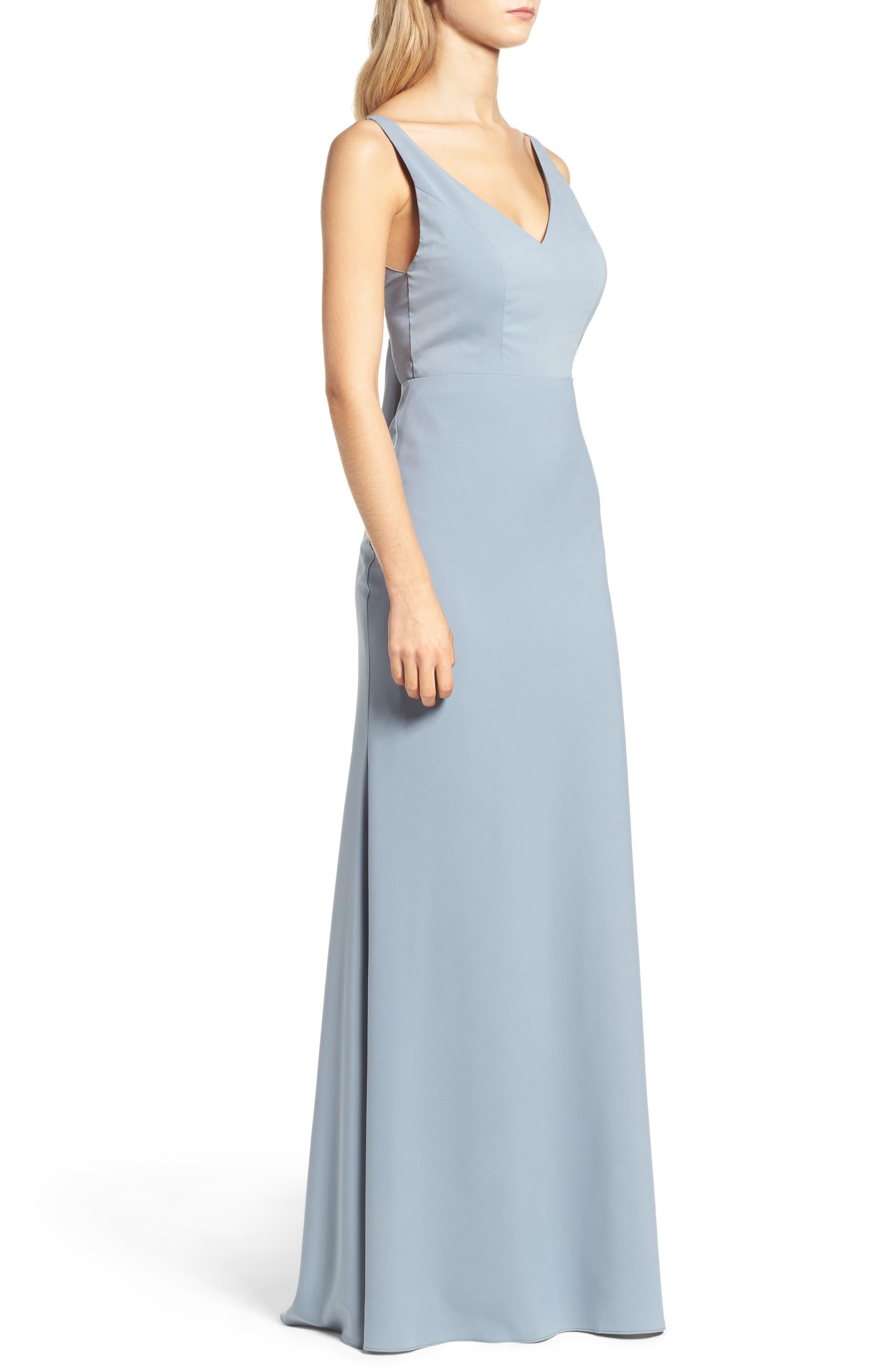 Delaney Tie Back V-Neck Gown,                             Alternate thumbnail 3, color,                             450