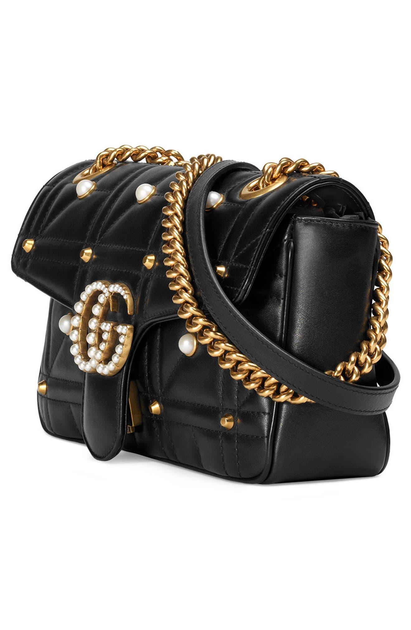 GG Marmont Matelassé Imitation Pearl Leather Shoulder Bag,                             Alternate thumbnail 7, color,