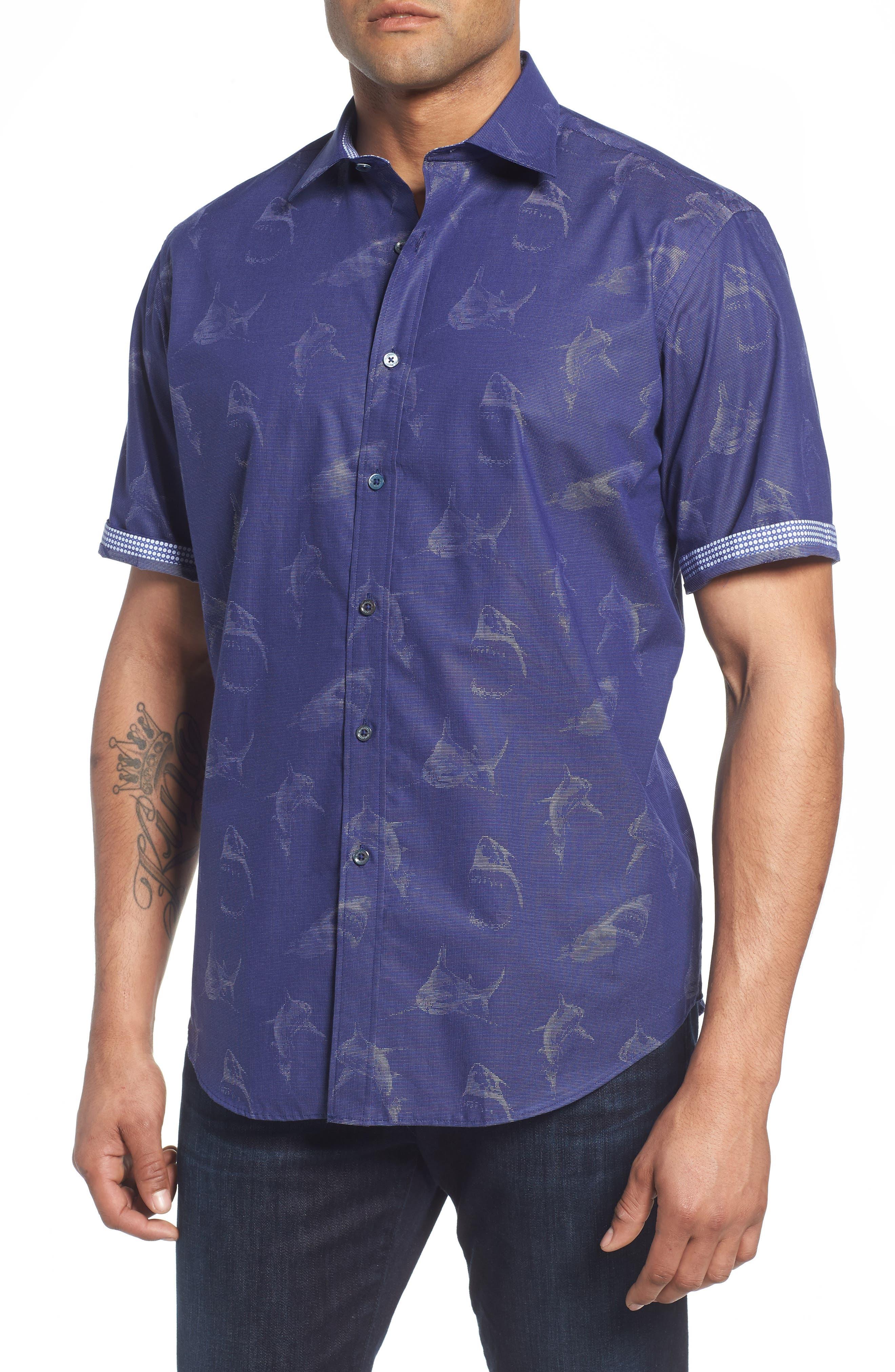 Classic Fit Shark Jacquard Sport Shirt,                             Alternate thumbnail 4, color,                             411