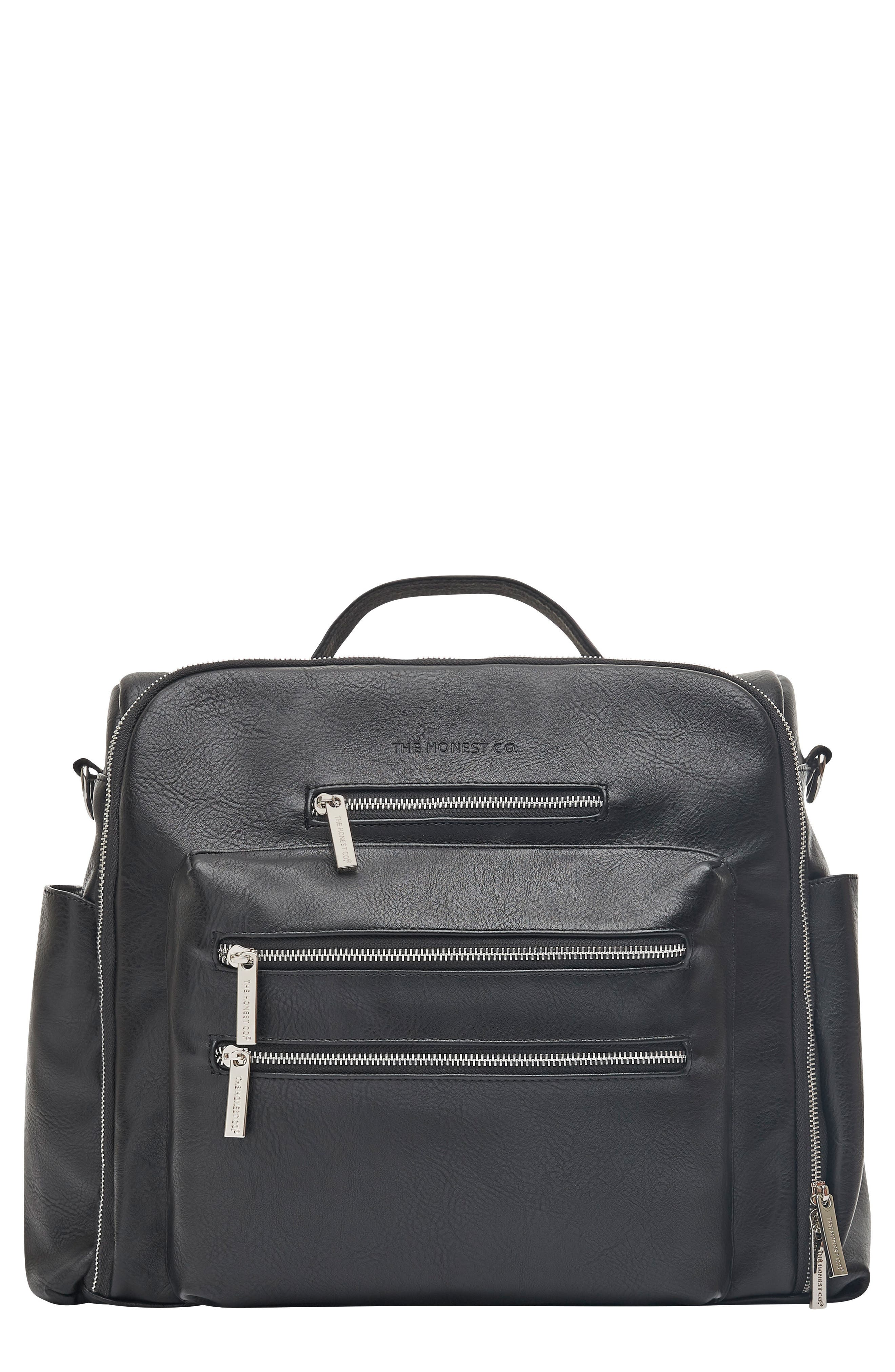 Cross Country Faux Leather Diaper Bag,                         Main,                         color, BLACK